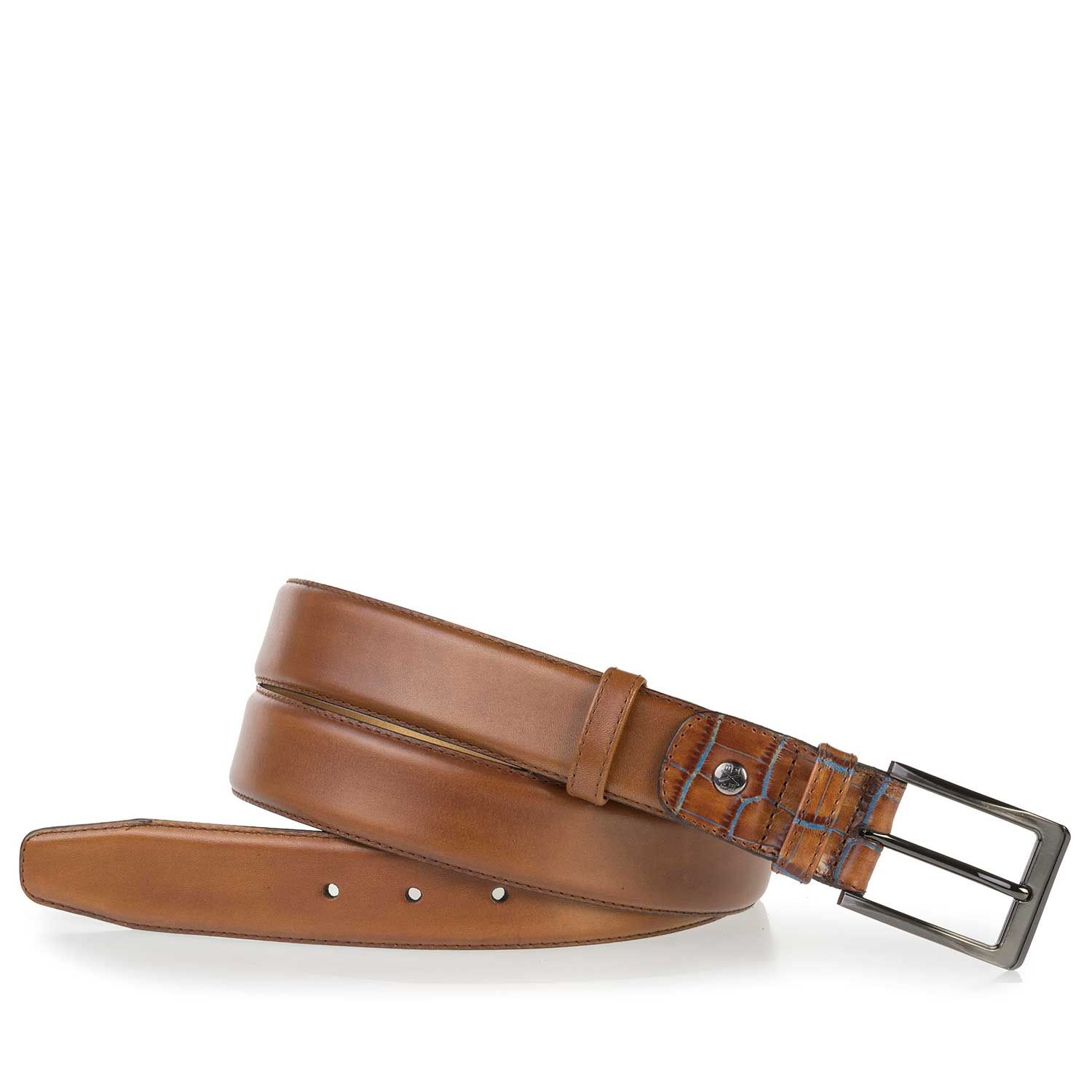 75055/00 - Cognac calf's leather belt