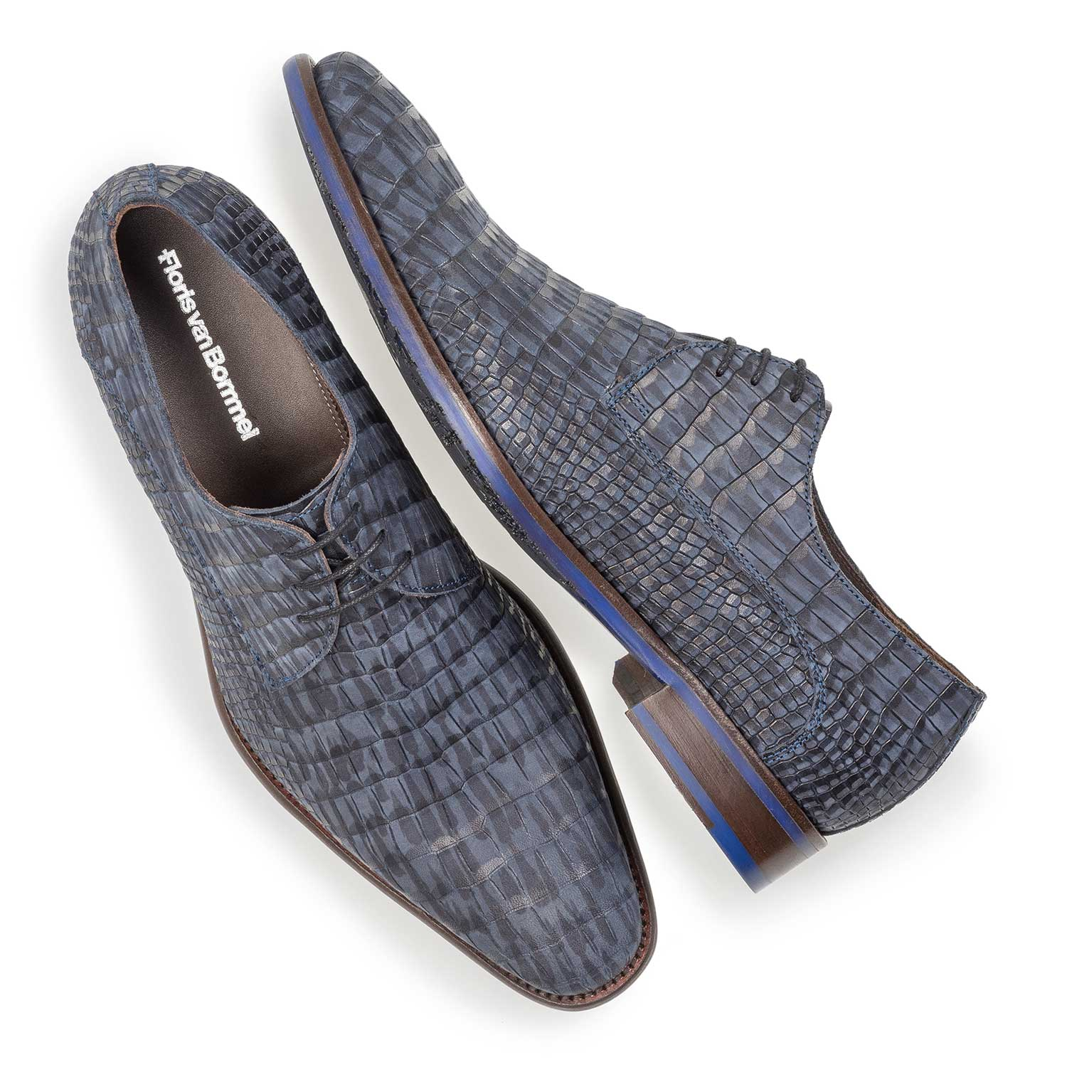 18159/11 - Blue nubuck leather lace shoe with croco print