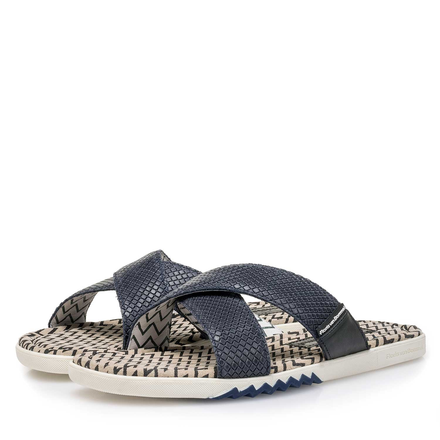 20200/00 - Blue printed leather slipper