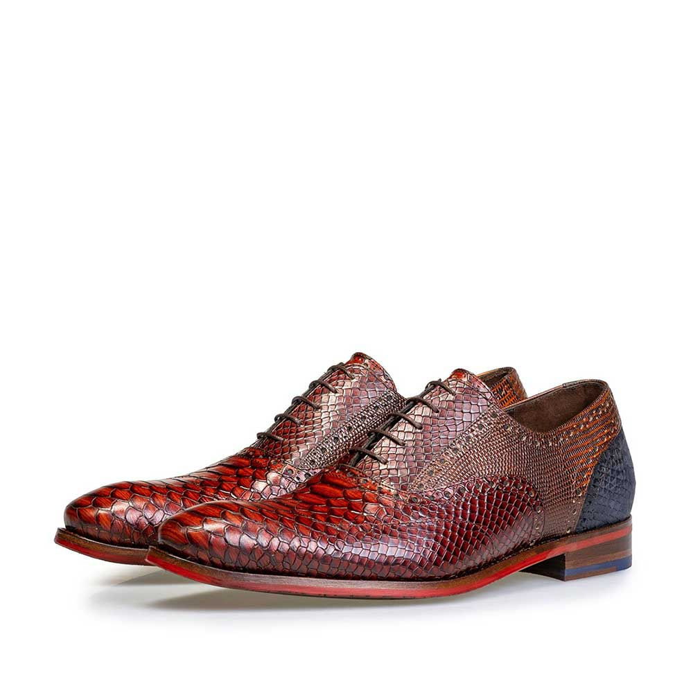 19104/16 - Dark cognac-coloured lace shoe