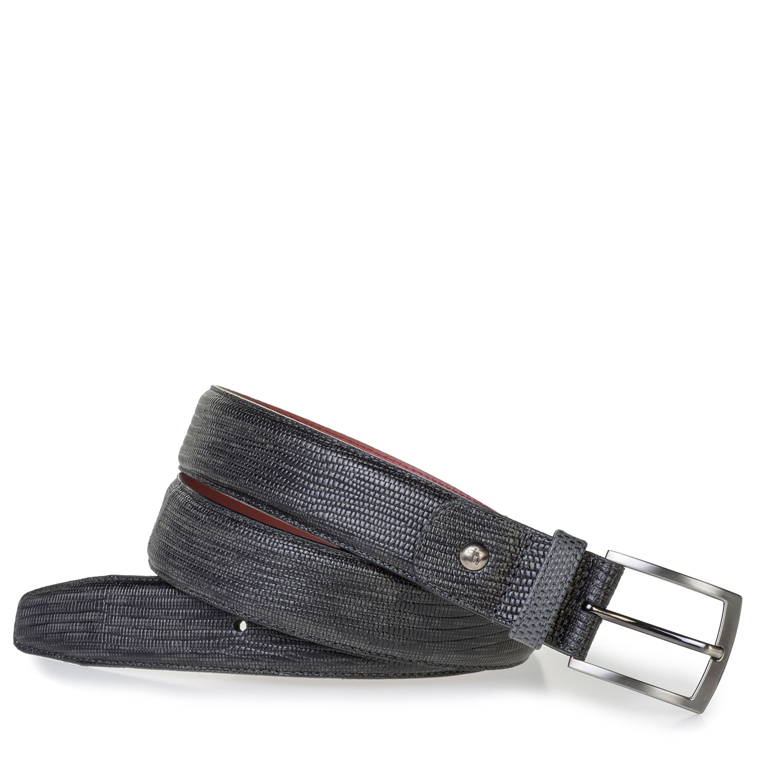 75188/59 - Grey leather belt with lizard print
