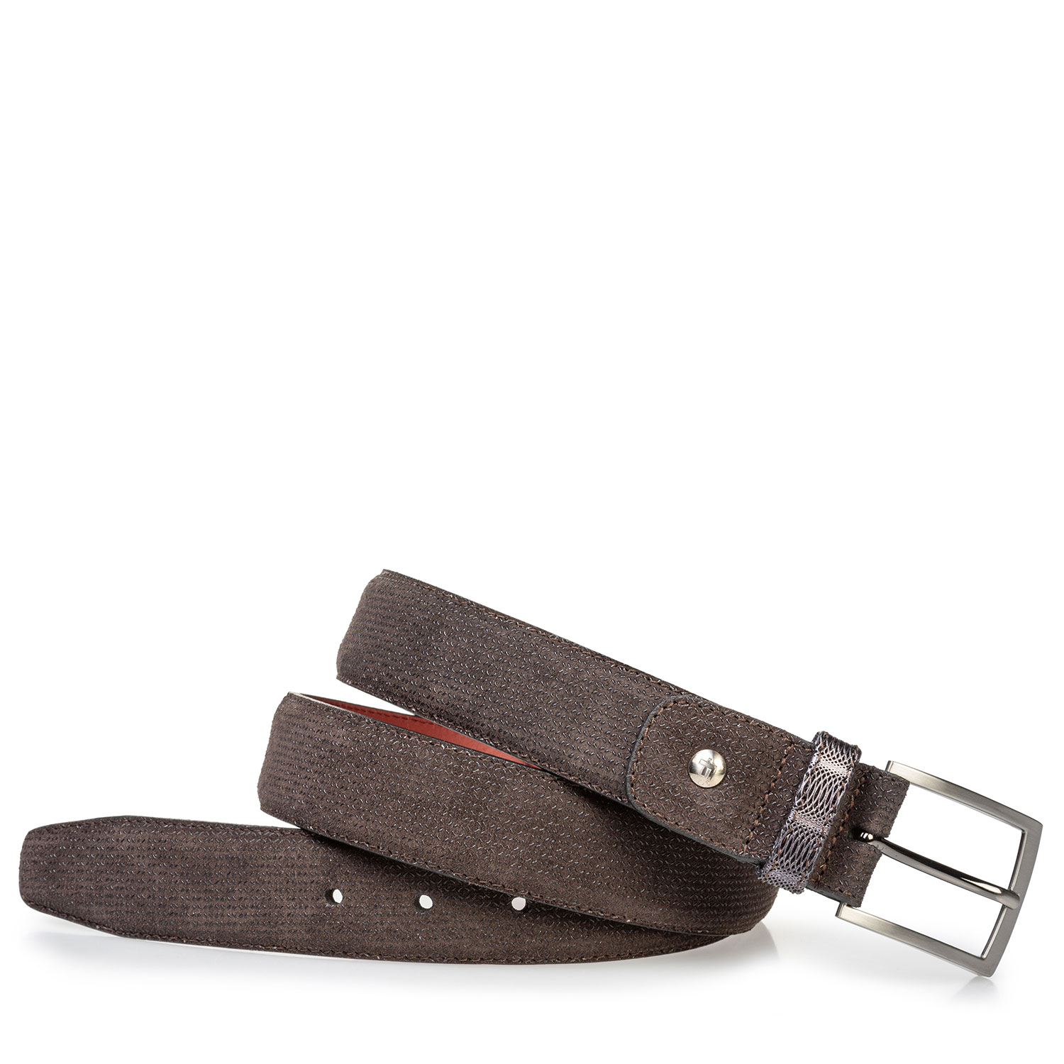 75188/75 - Suede leather belt dark brown with print