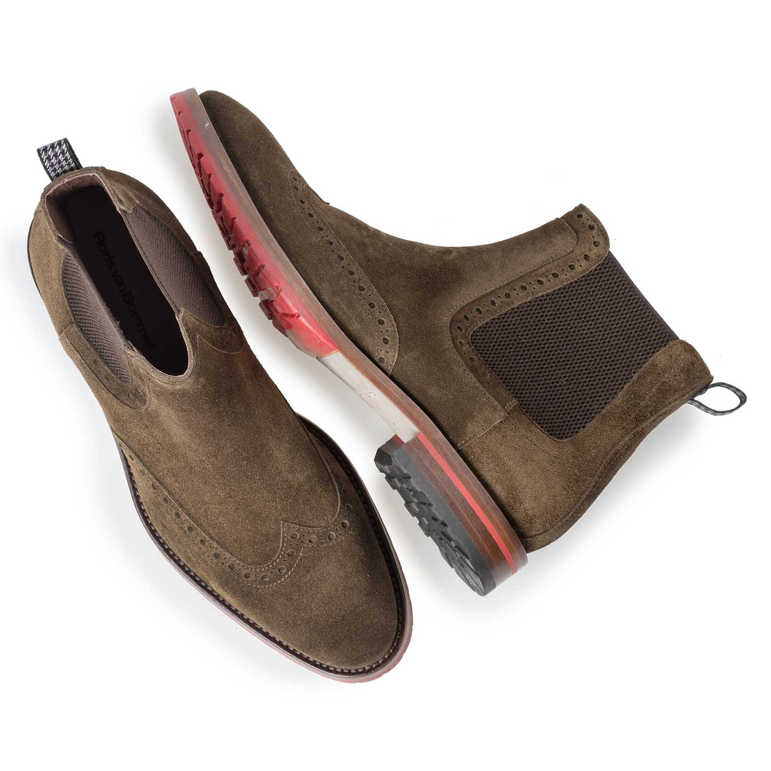10329/05 - Brown/olive green calf suede leather Chelsea boot