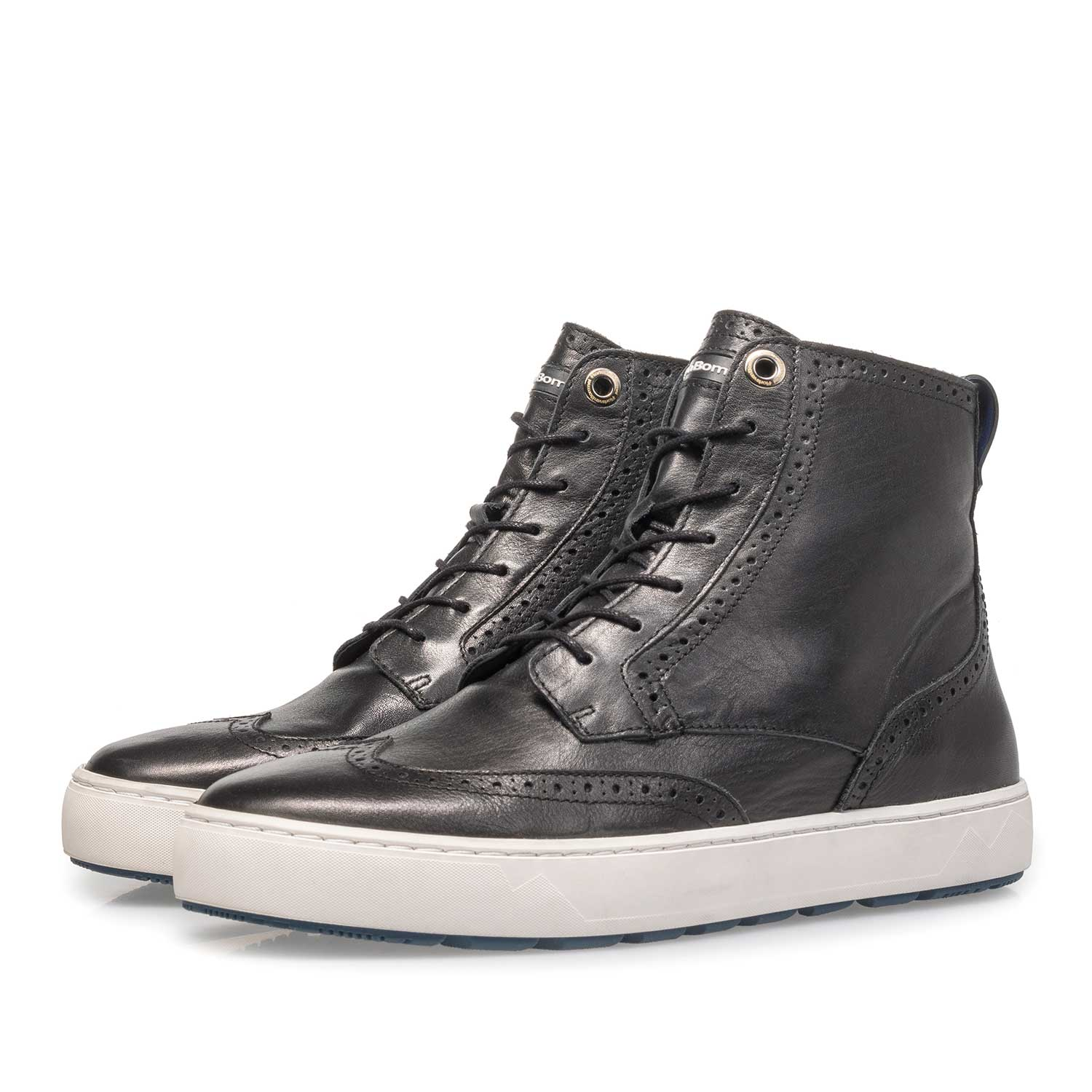 85286/03 - Black mid-high nappa leather sneaker