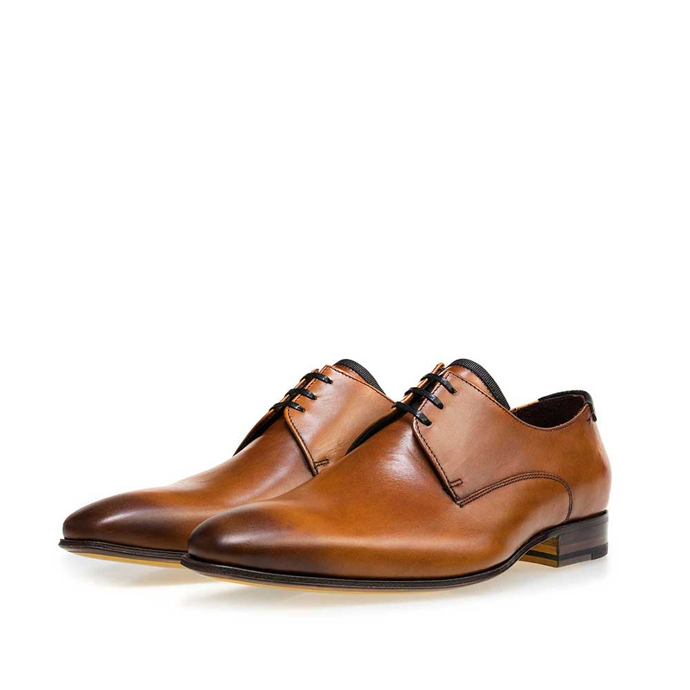 14095/00 - Floris van Bommel cognac leather men's lace-up shoe