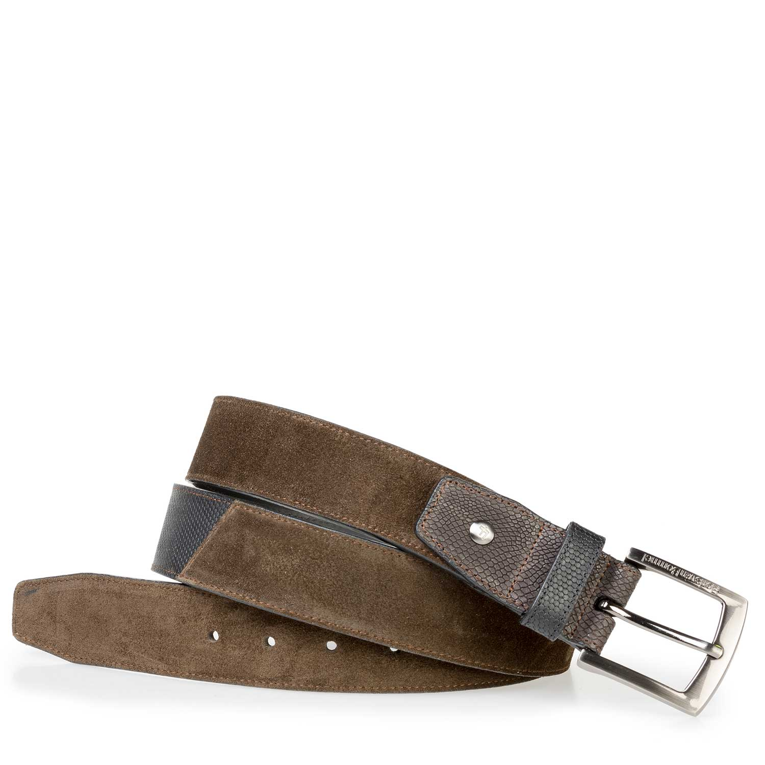 75161/15 - Olive green calf suede leather belt