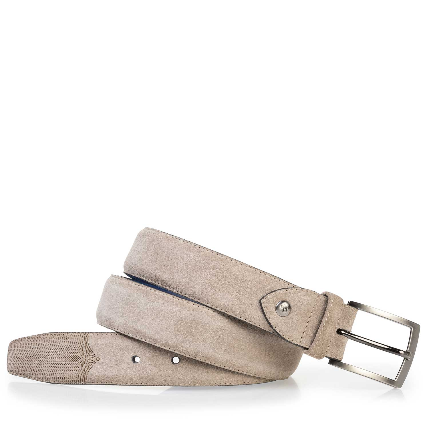 75197/04 - Taupe-coloured calf suede leather belt