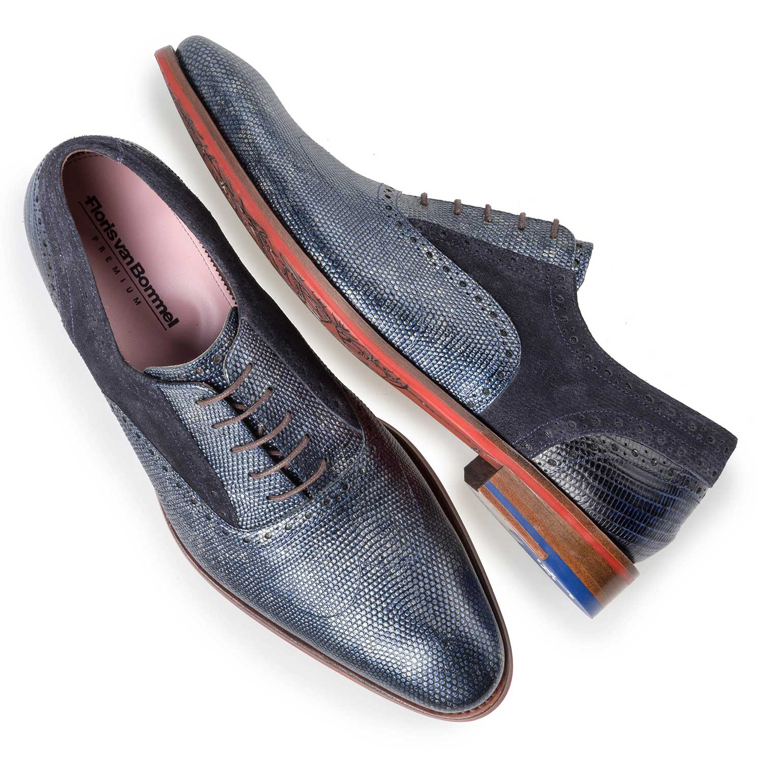 19117/02 - Blue Premium calf leather lace shoe
