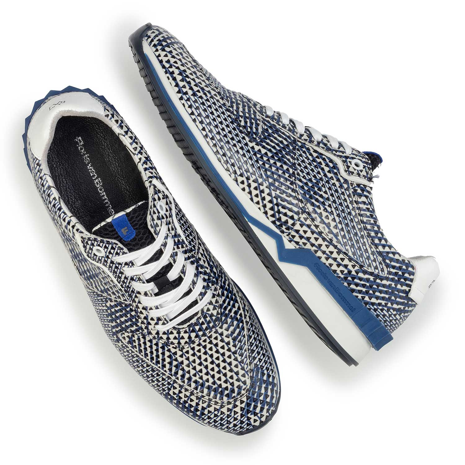 16225/02 - Blue/white patterned leather sneaker