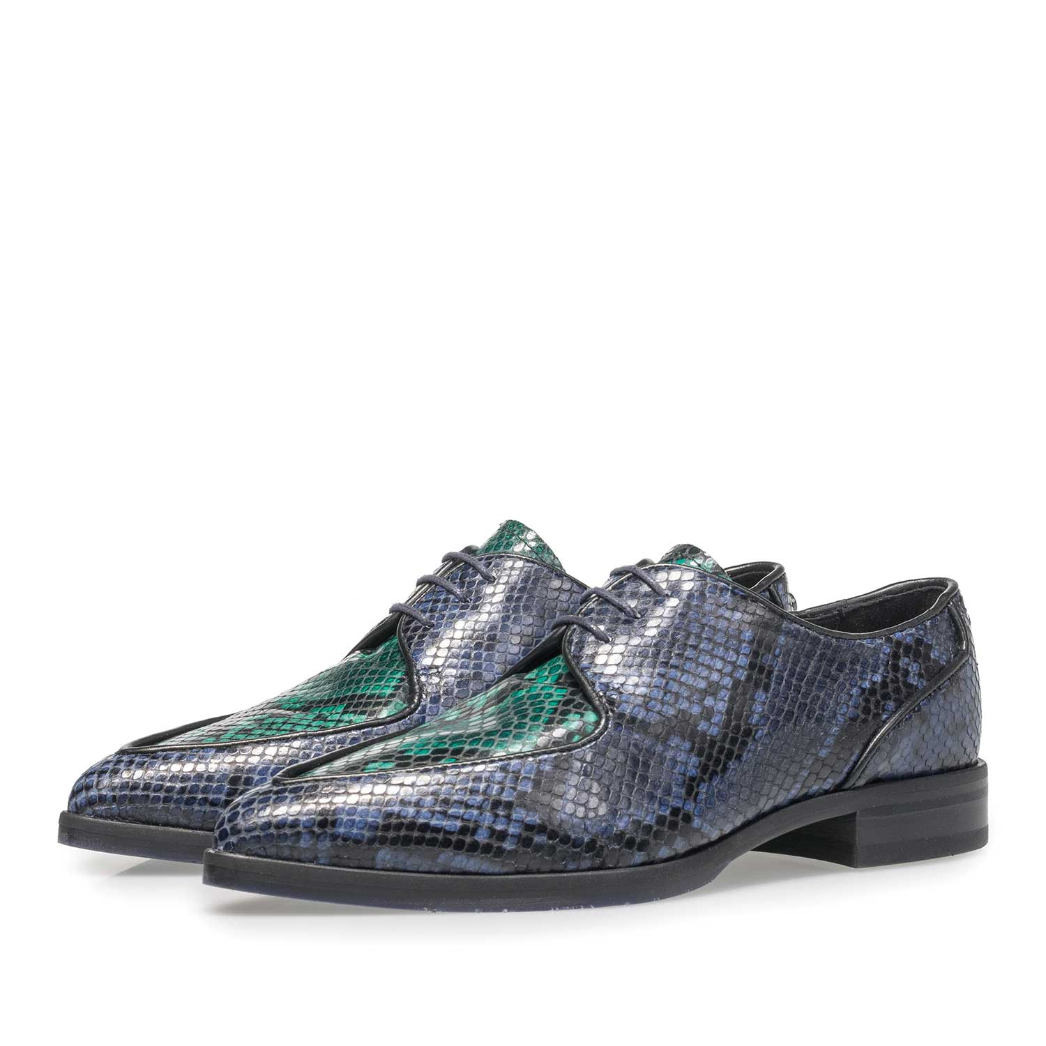 85811/04 - Blue leather lace shoe with snake print