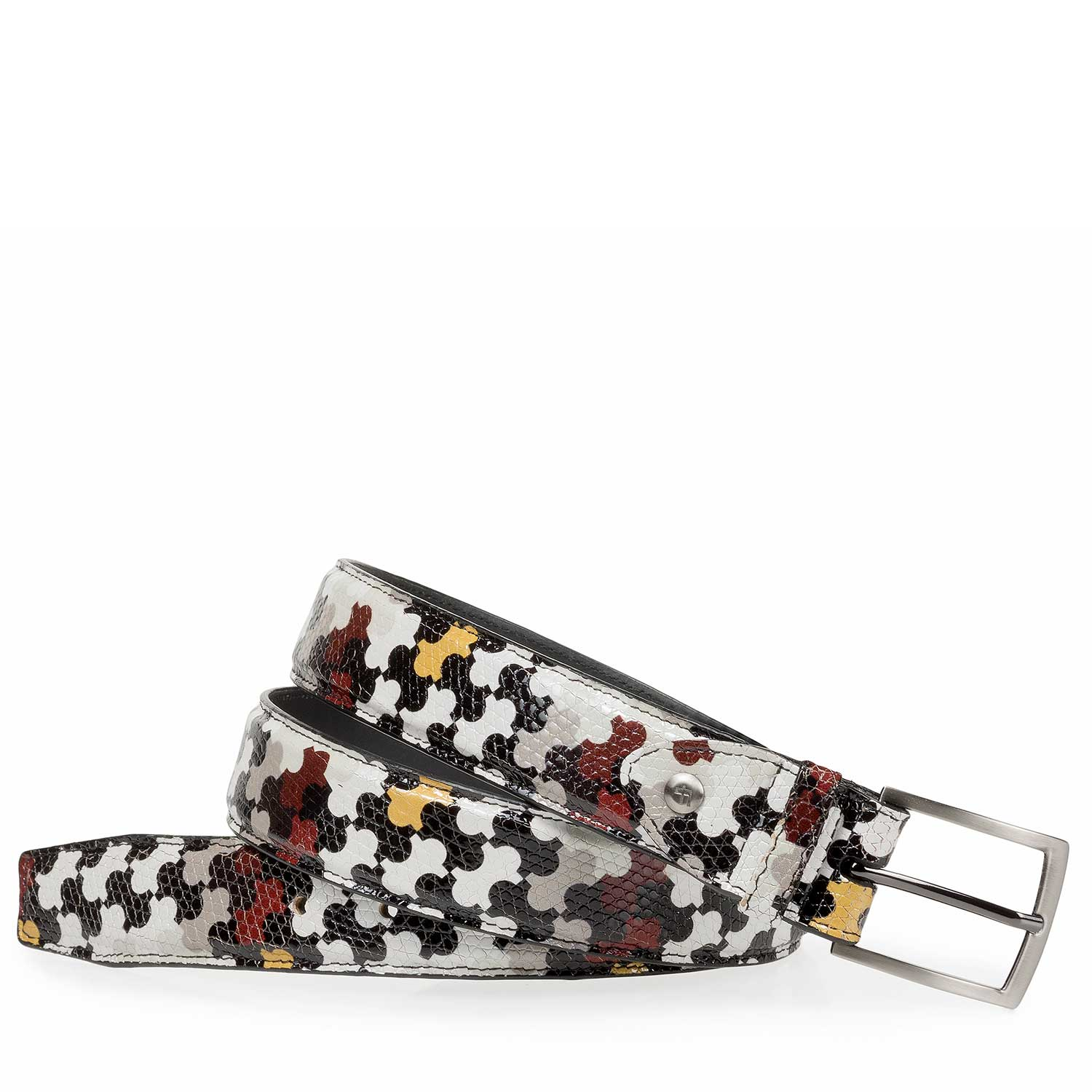75200/12 - Multi-coloured calf leather belt with print