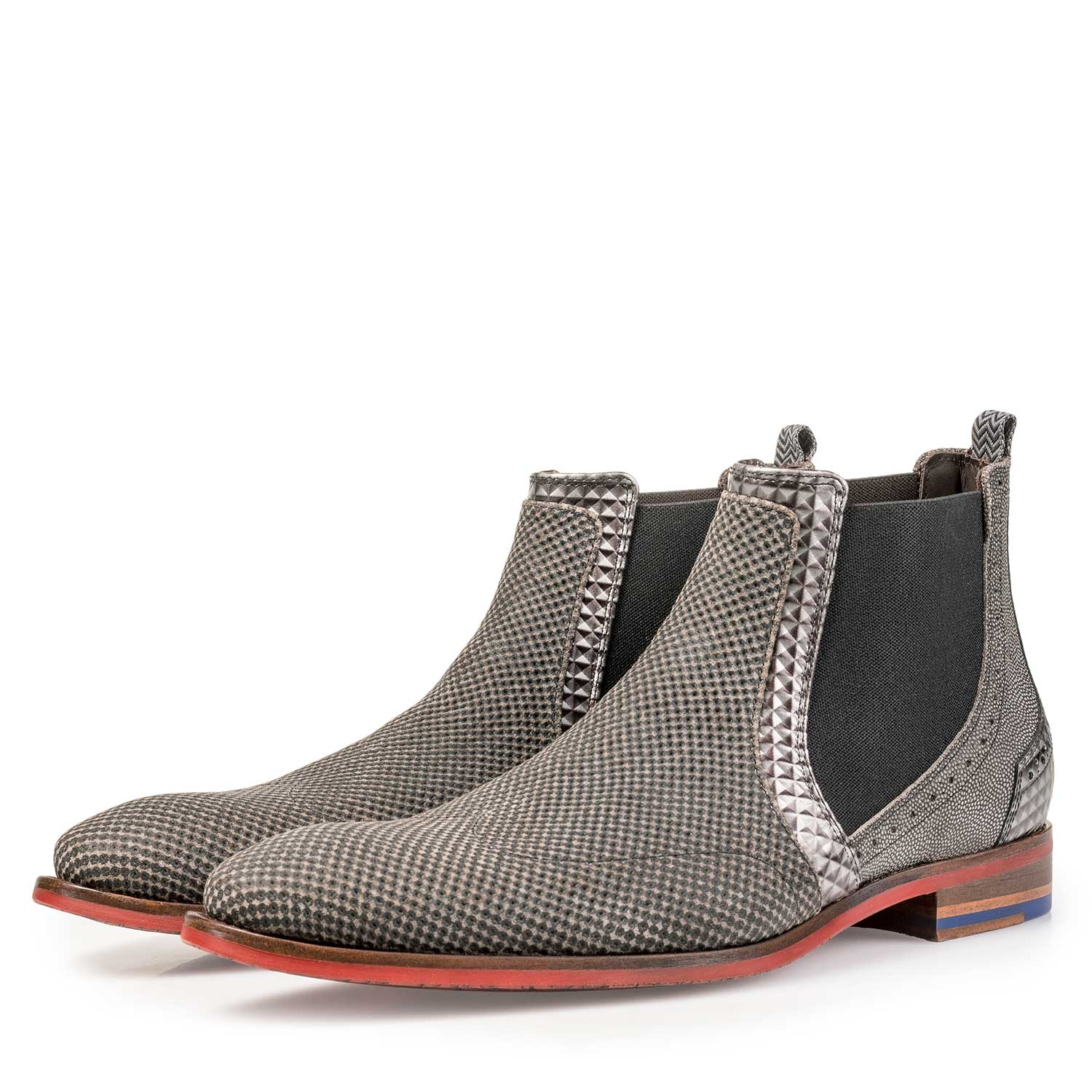 10455/07 - Taupe-coloured suede leather Chelsea boot with a mini print
