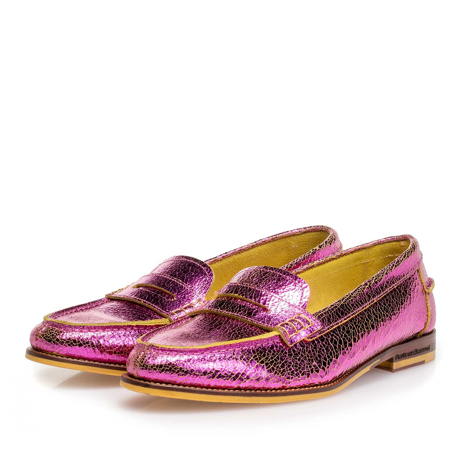 85409/10 - Pink metallic leather loafer with craquelé effect
