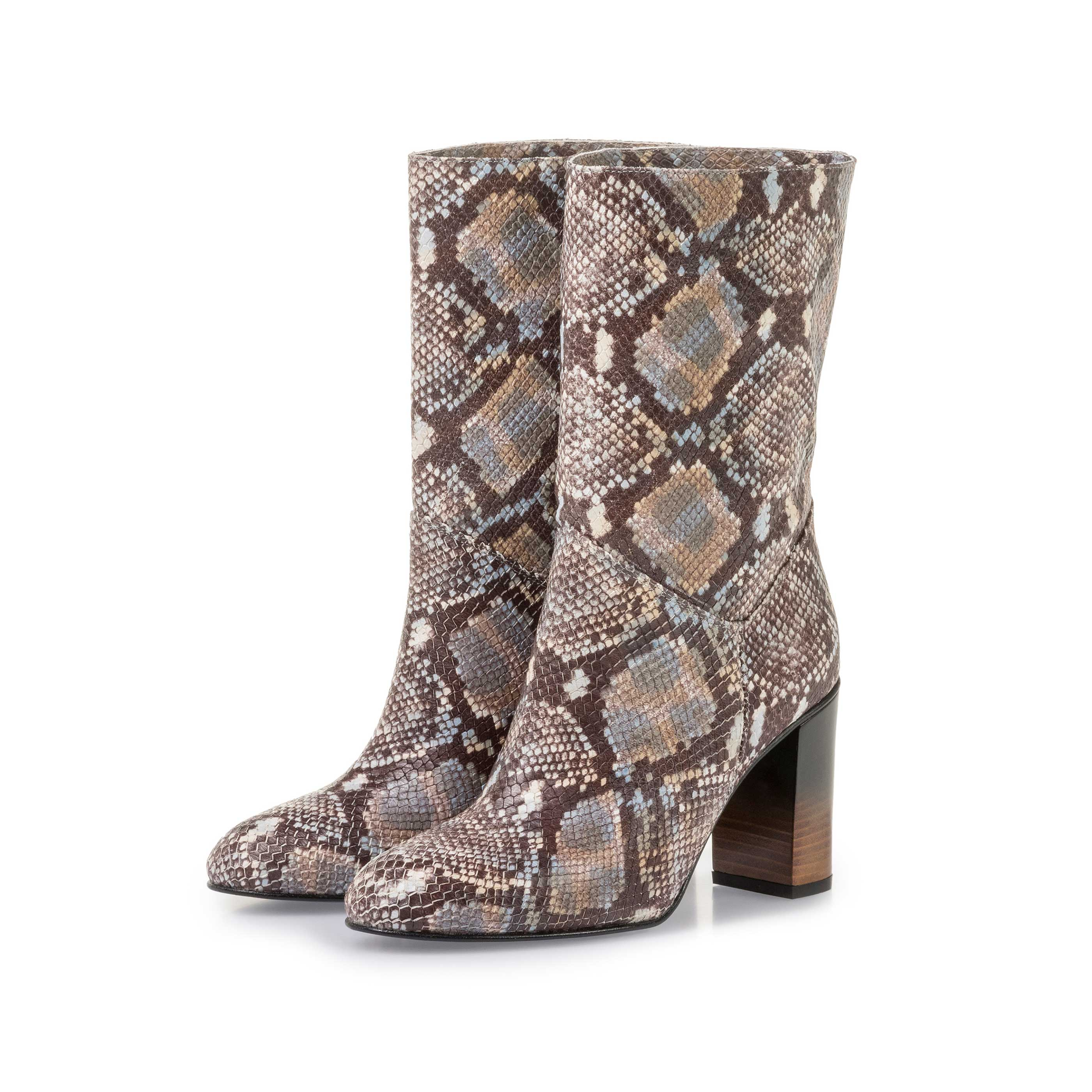 85718/02 - Brown and white leather boots with snake print