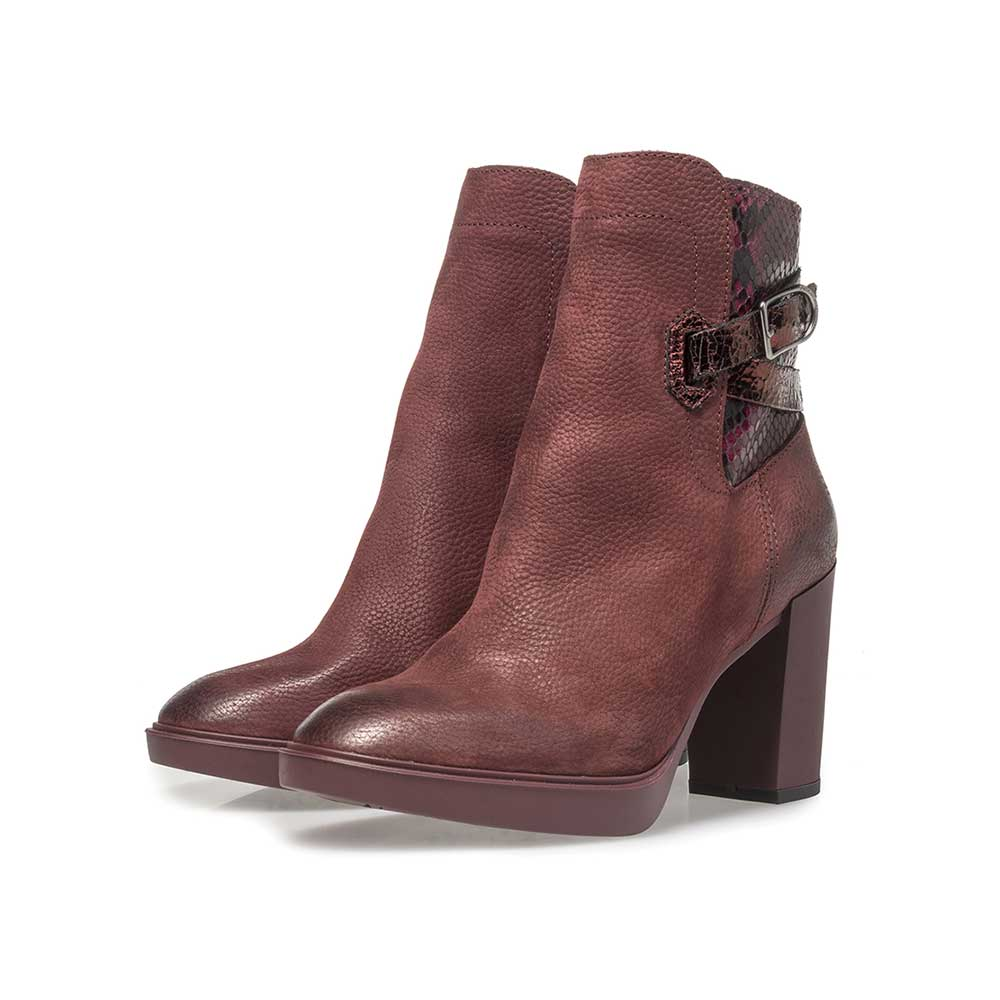 85627/00 - Burgundy red nubuck leather ankle boots with snake print