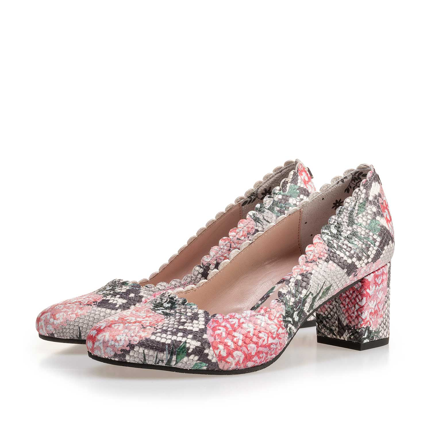 85226/04 - Multi-coloured leather pumps with printed motif