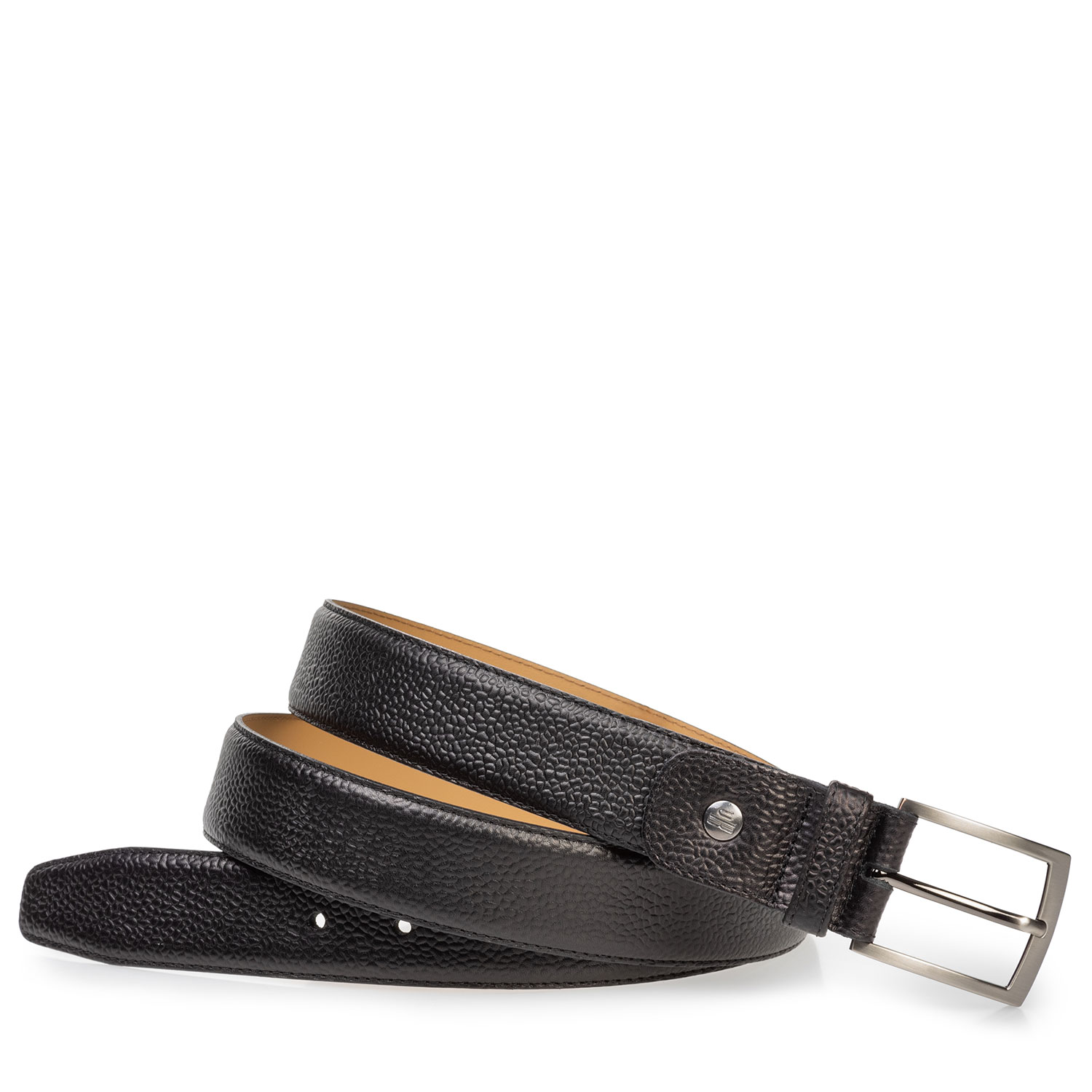 75533/48 - Black leather belt with structured pattern