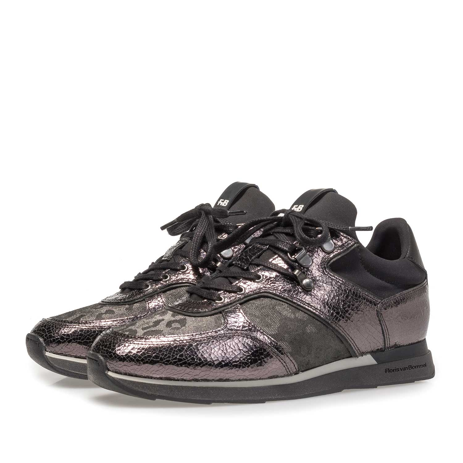 85278/03 - Dark grey leather sneaker with metallic print