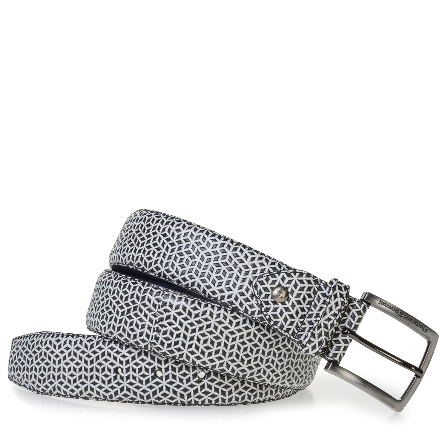 75202/54 - White leather belt with black print