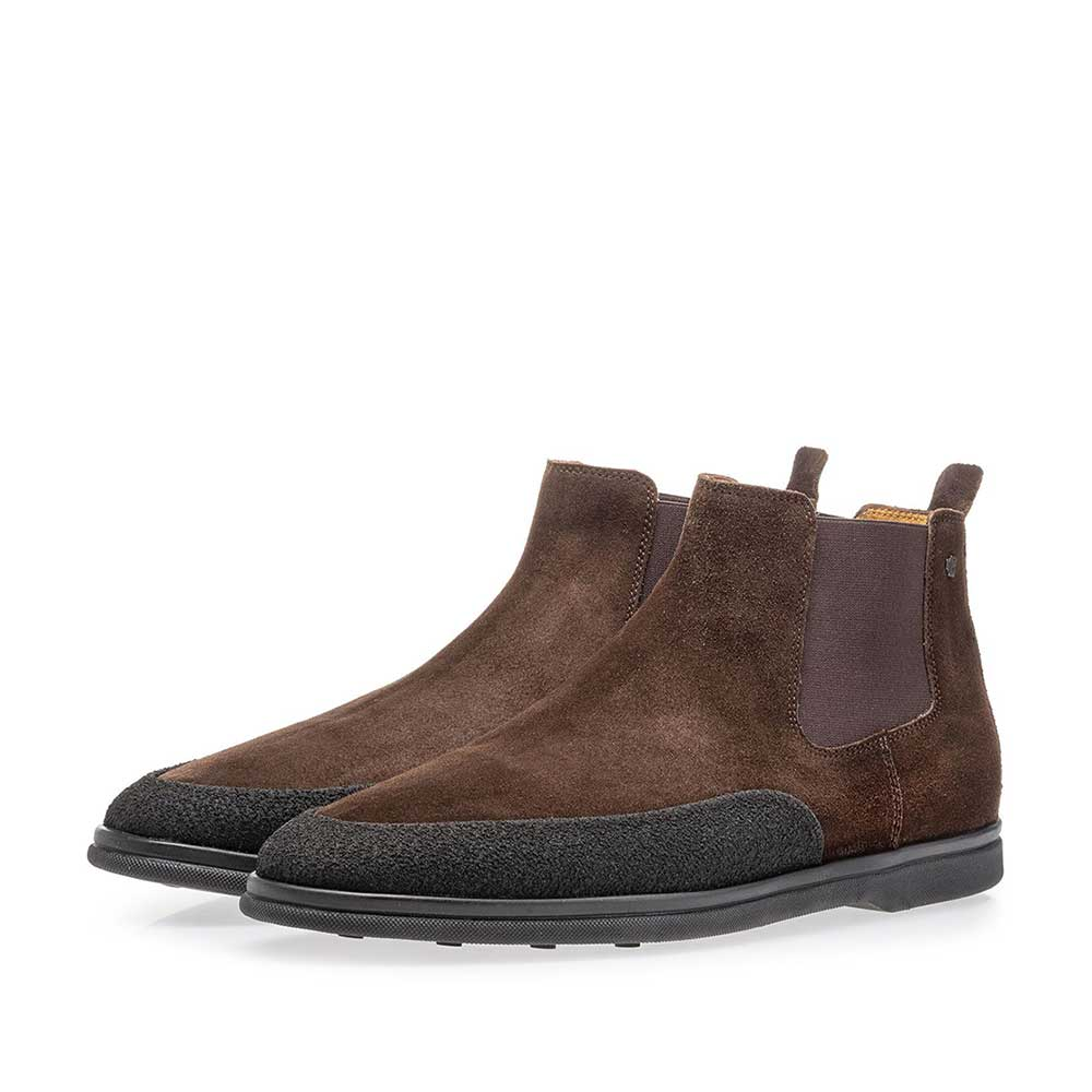 20206/08 - Suede leather Chelsea boot dark brown