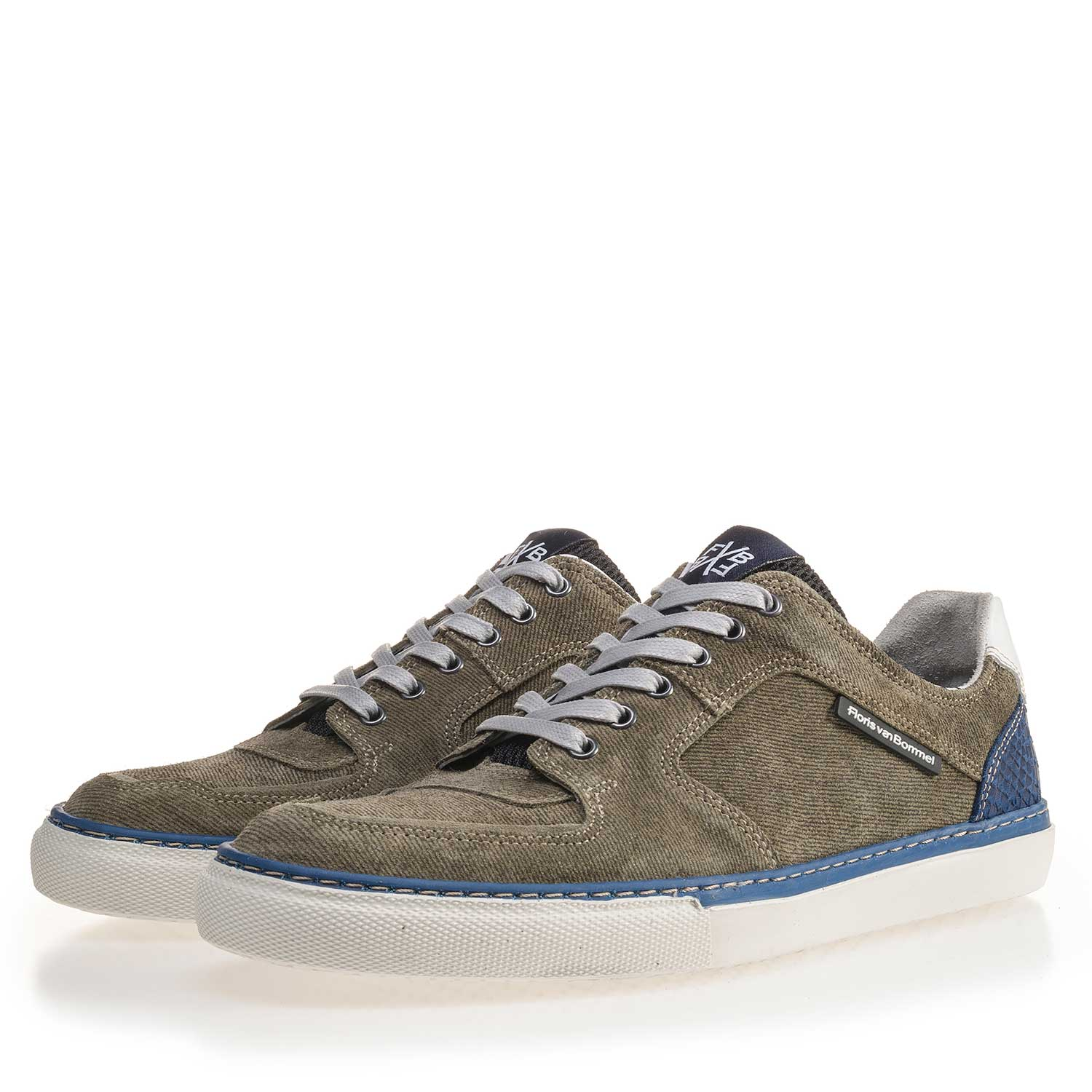 16252/05 - Olive green patterned suede leather sneaker