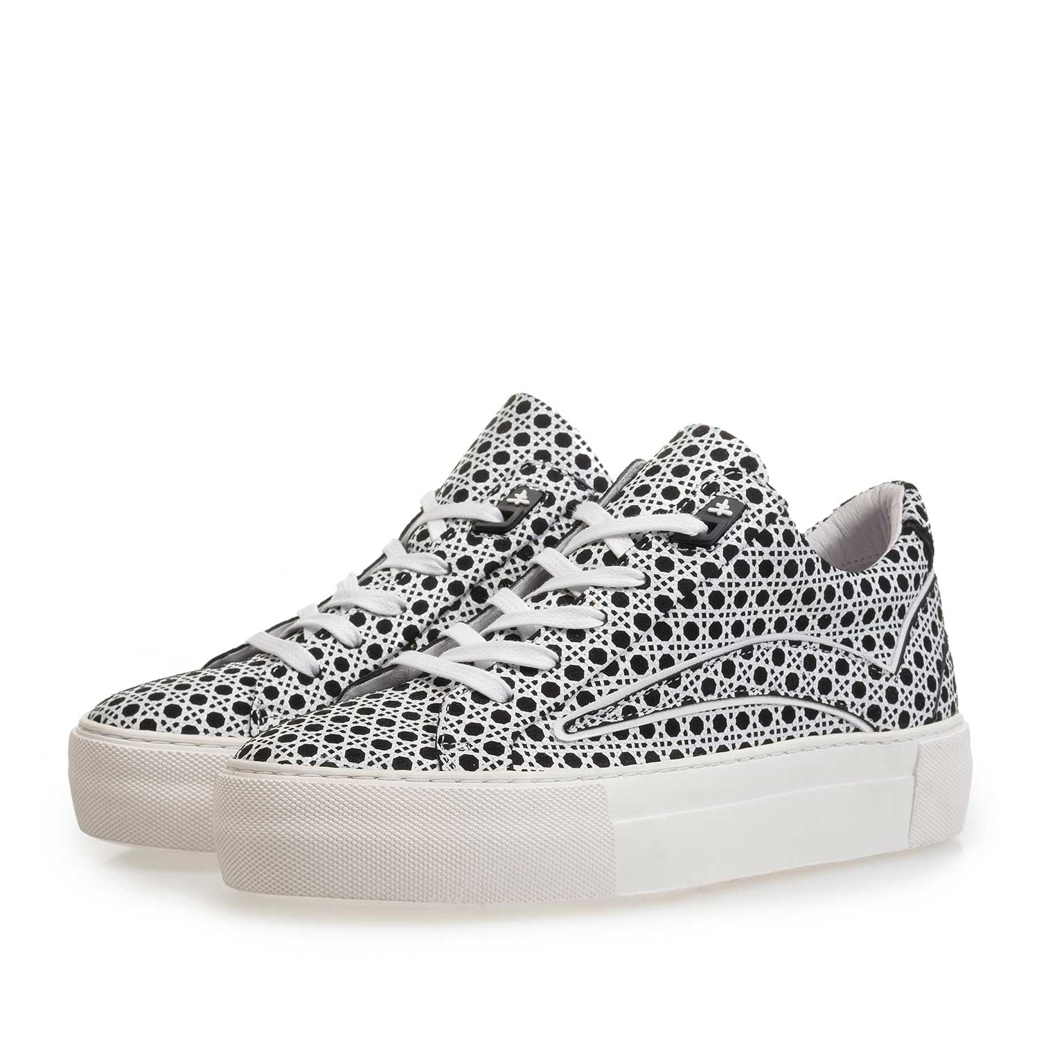 85259/00 - Black-and-white suede leather sneaker with print