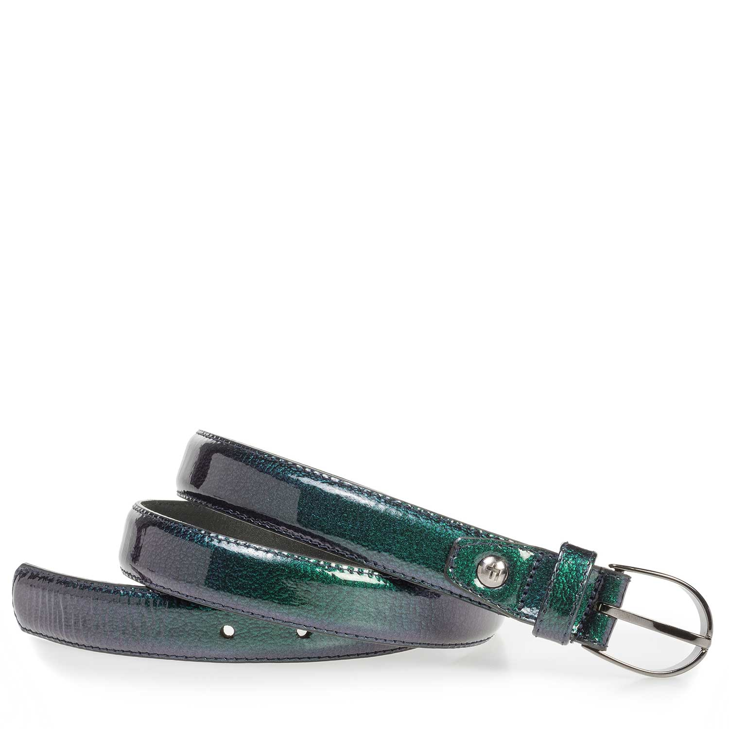 75813/45 - Green and blue leather belt with metallic print