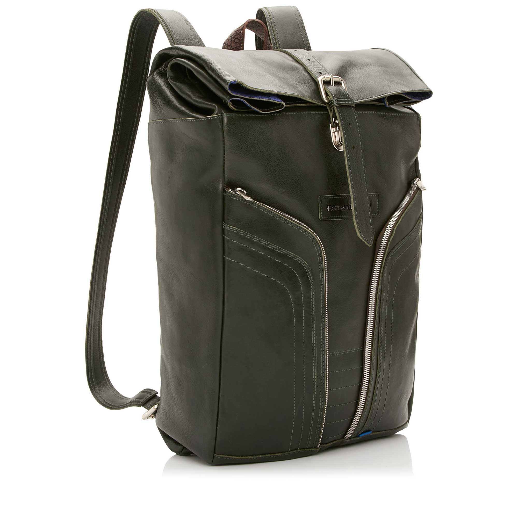 53000/00 - Floris van Bommel green leather backpack