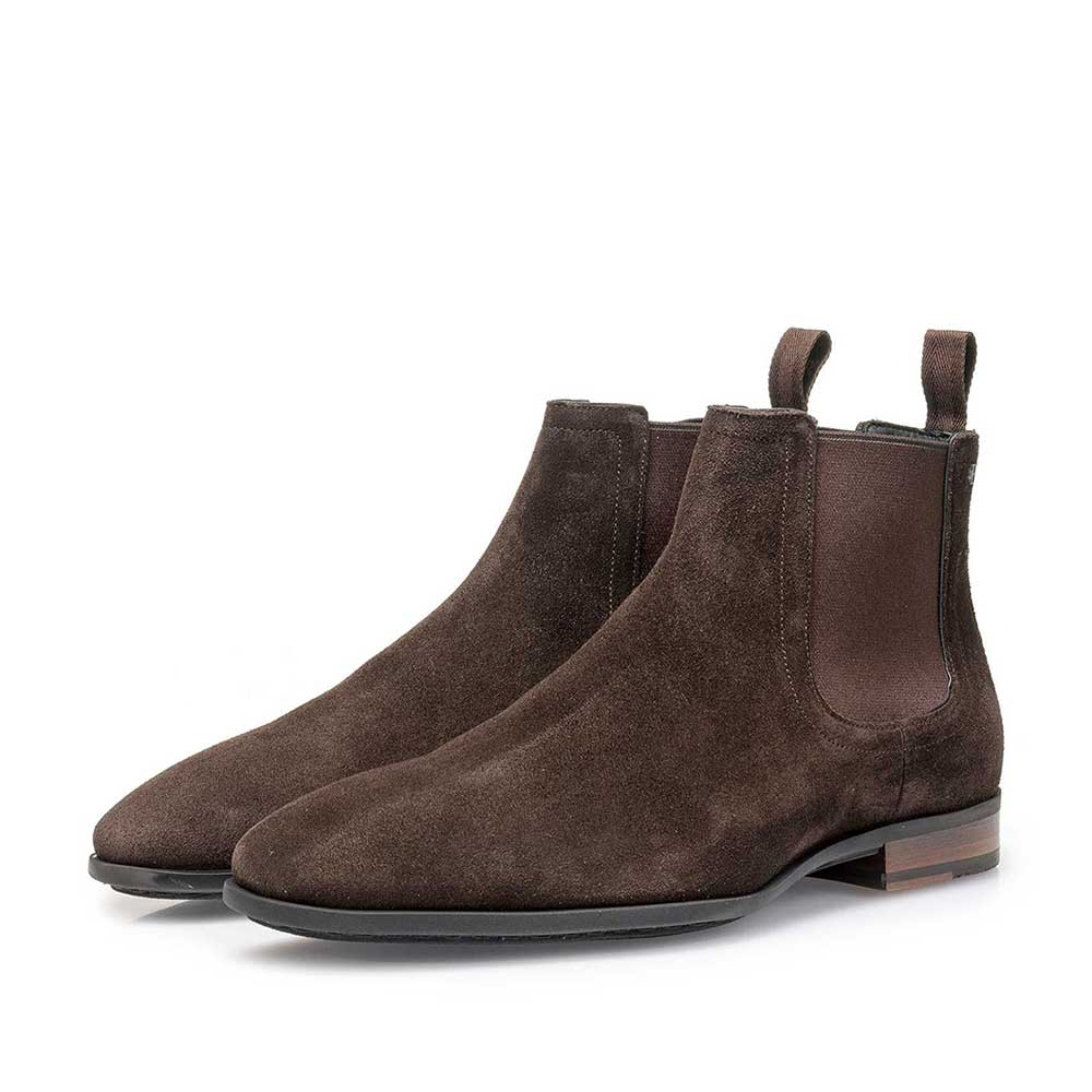 Brown waxed suede leather Chelsea boot