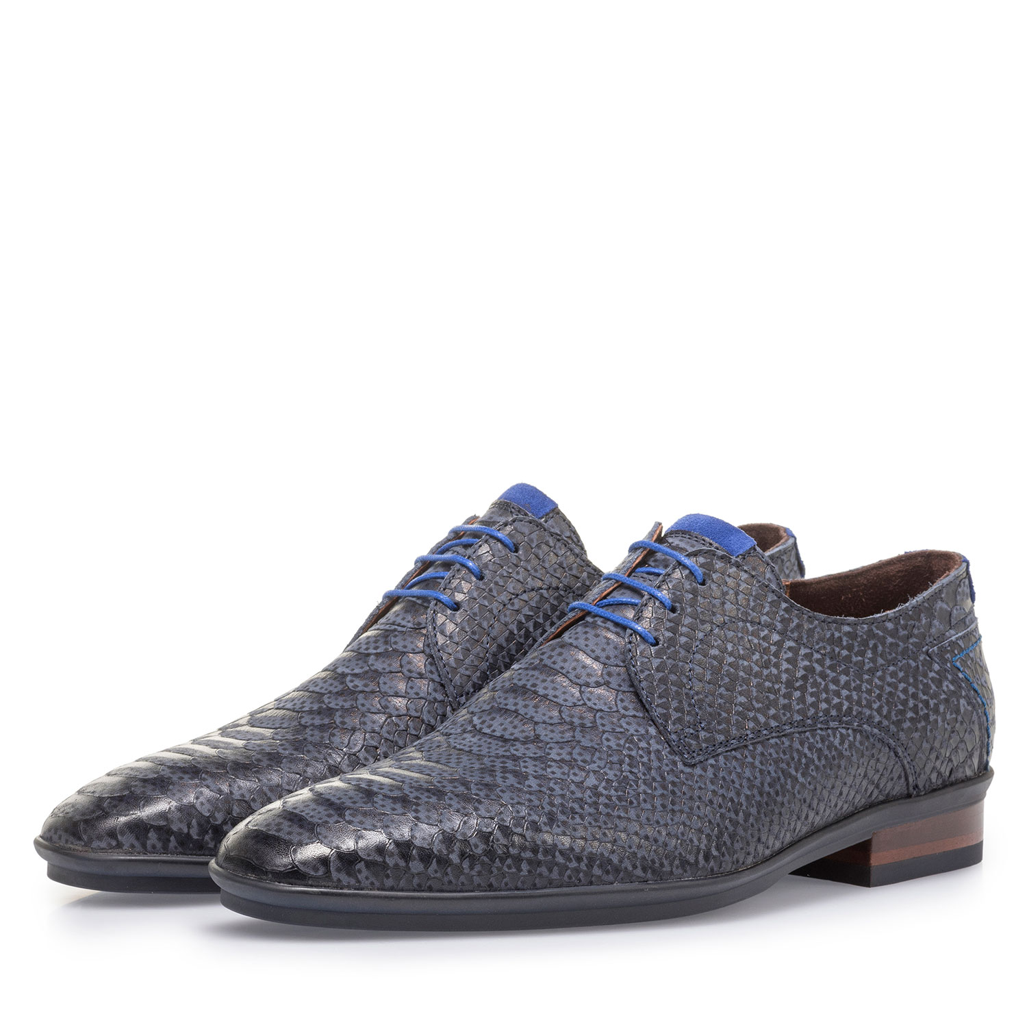 18441/19 - Dark blue nubuck leather lace shoe with snake print