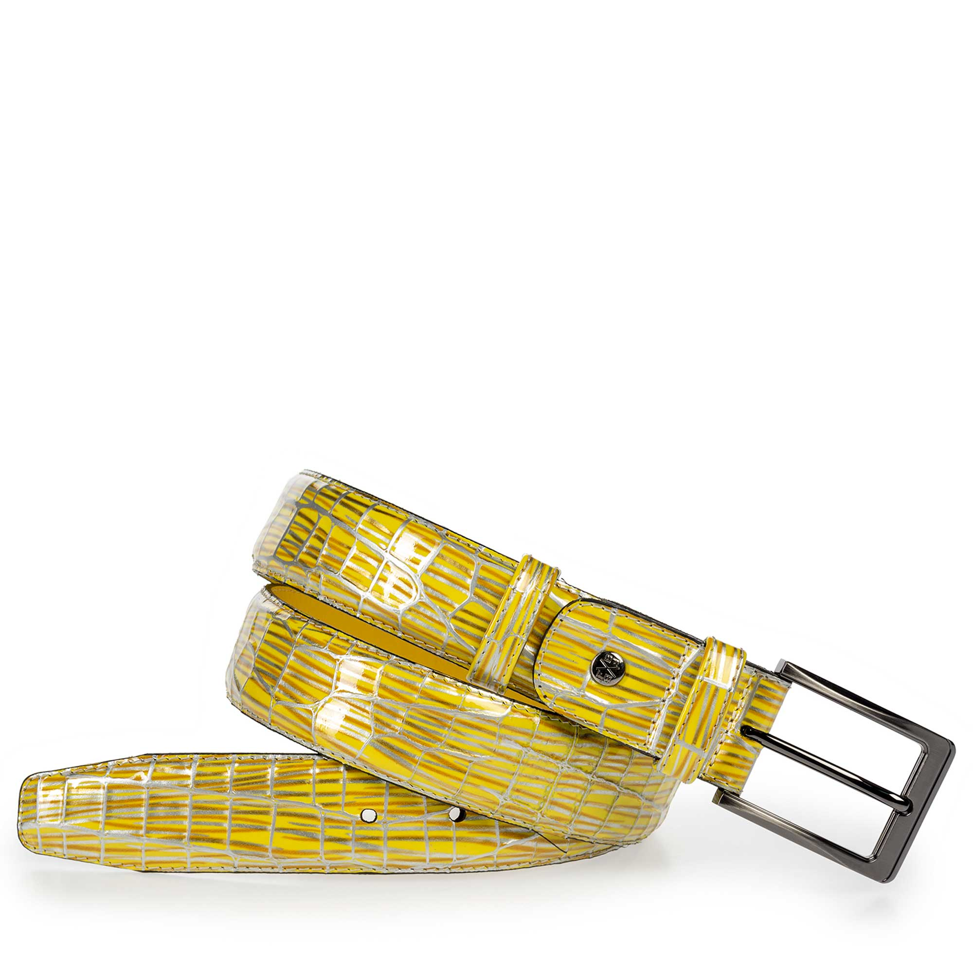 75182/08 - Yellow patent leather belt with print