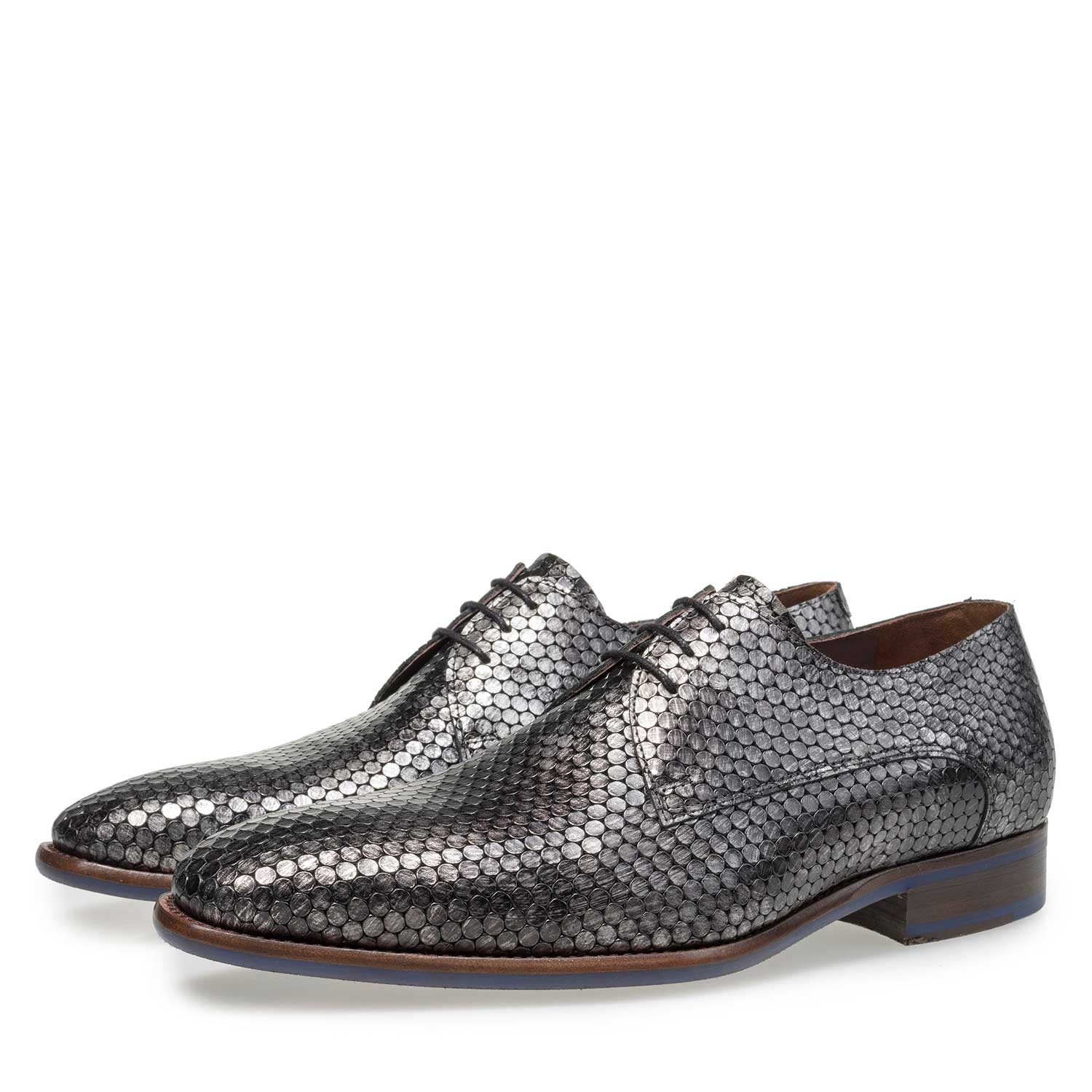 18080/00 - Grey calf leather lace shoe with metallic print