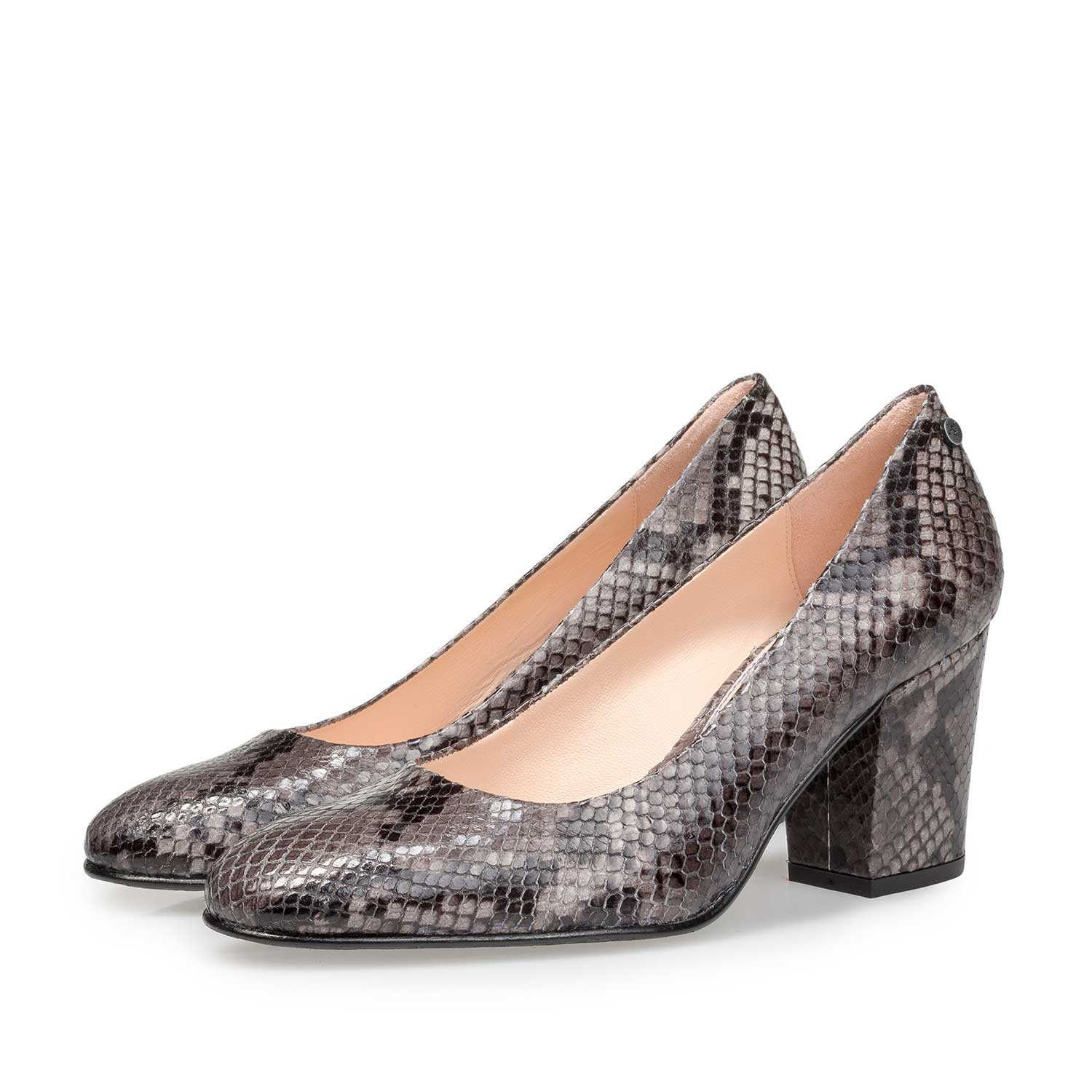 85520/11 - Grey leather pumps with snake print