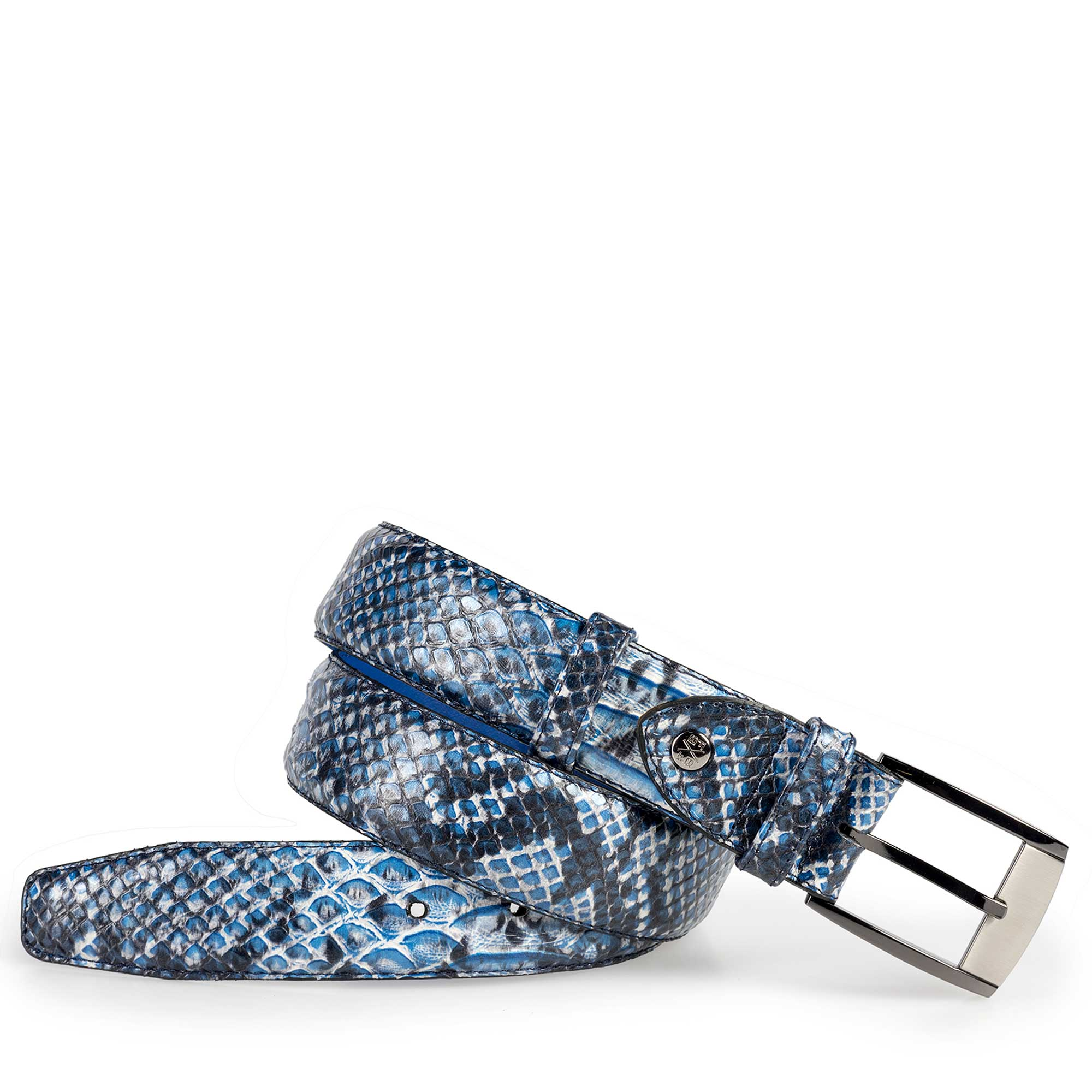 75180/28 - Blue calf's leather belt with a snake pattern