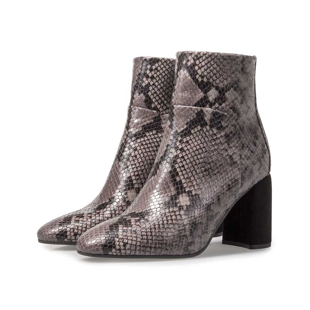 85624/02 - Dark grey leather ankle boot with snake print