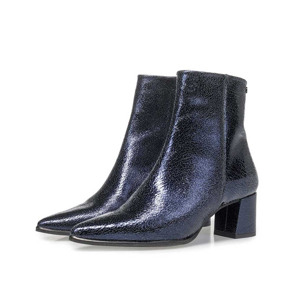 85623/06 - Dark blue leather ankle boots with metallic print