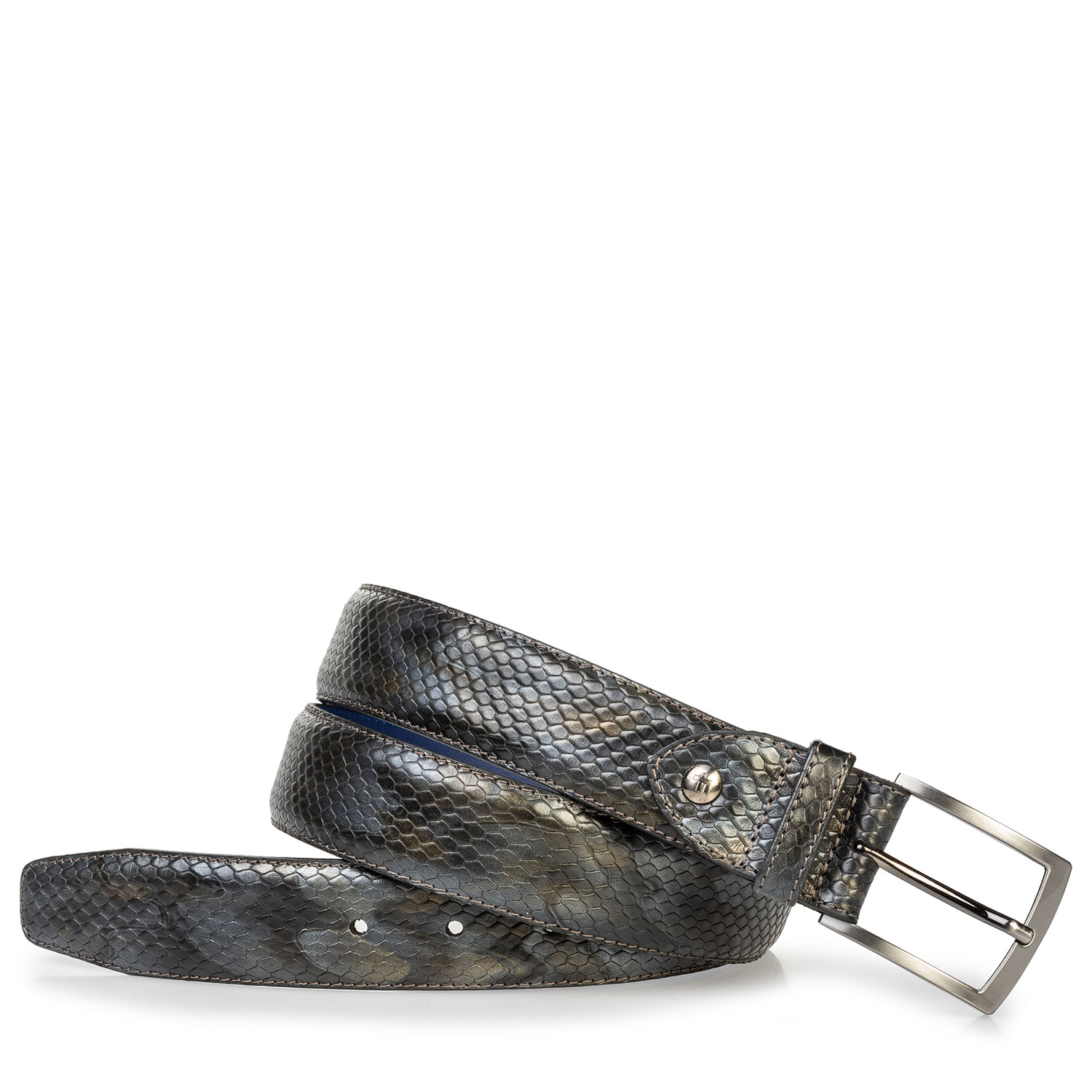 75203/49 - Leather belt metallic grey