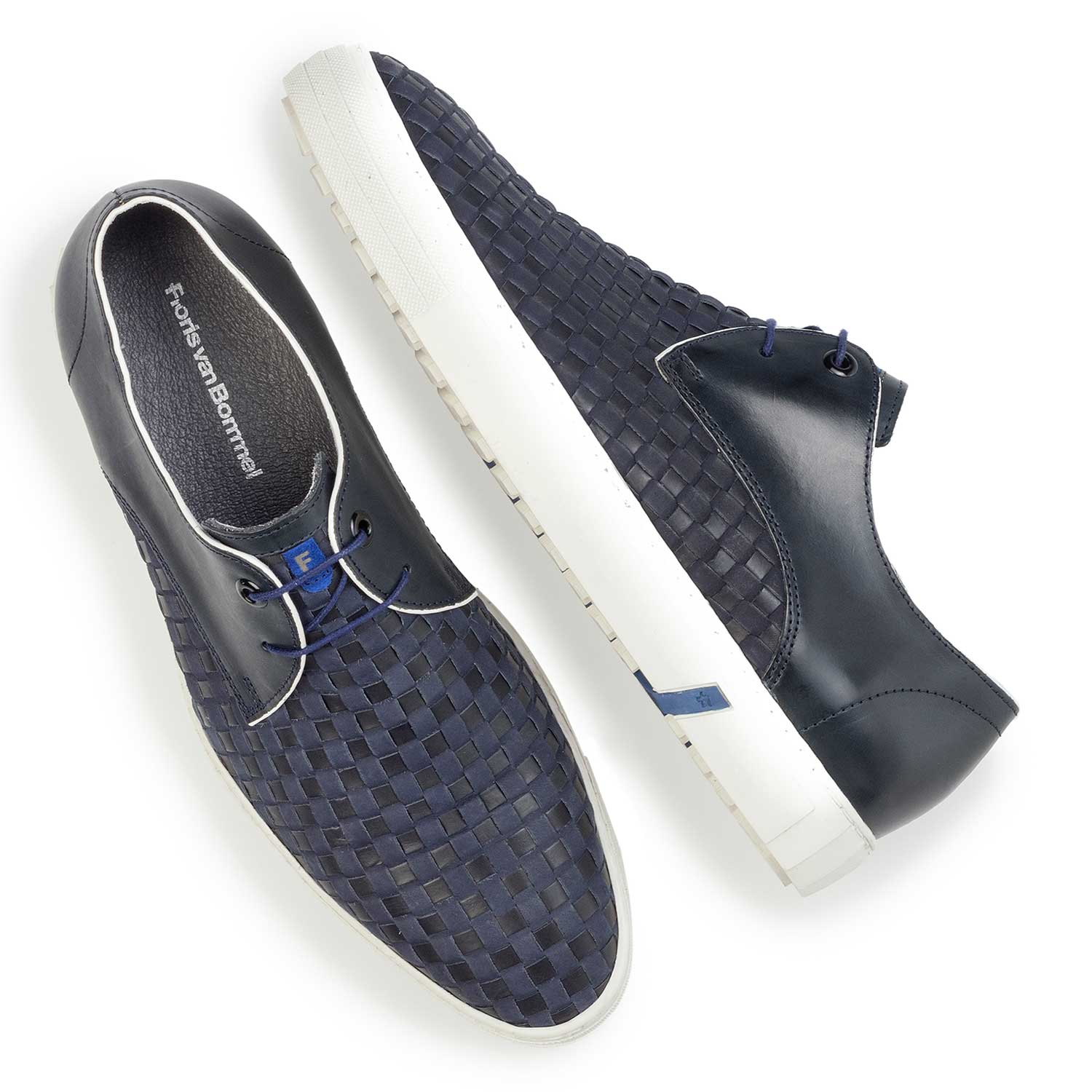 14277/01 - Premium dark blue braided leather lace shoe