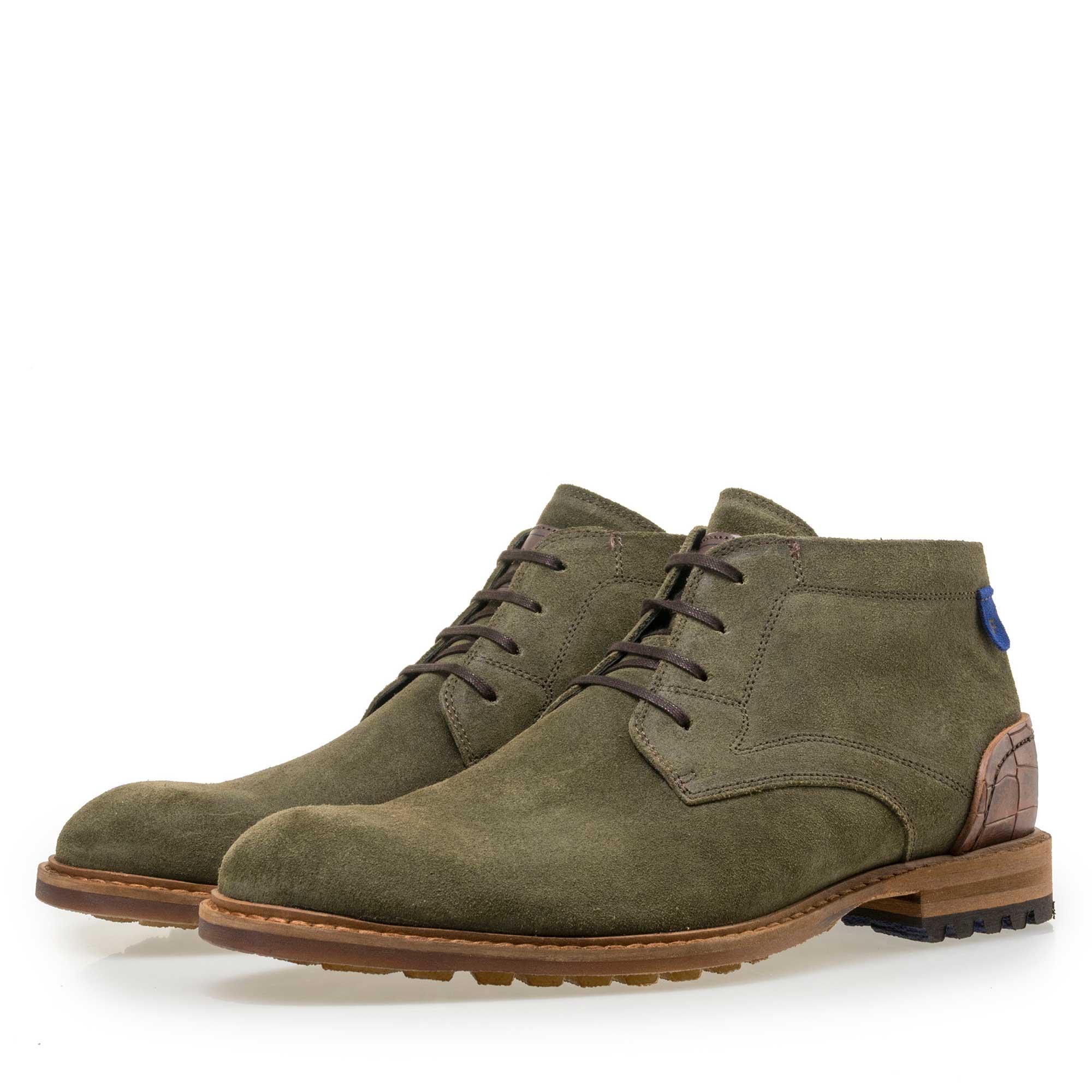 Men's green suede leather lace boot 1090705 Floris van Bommel