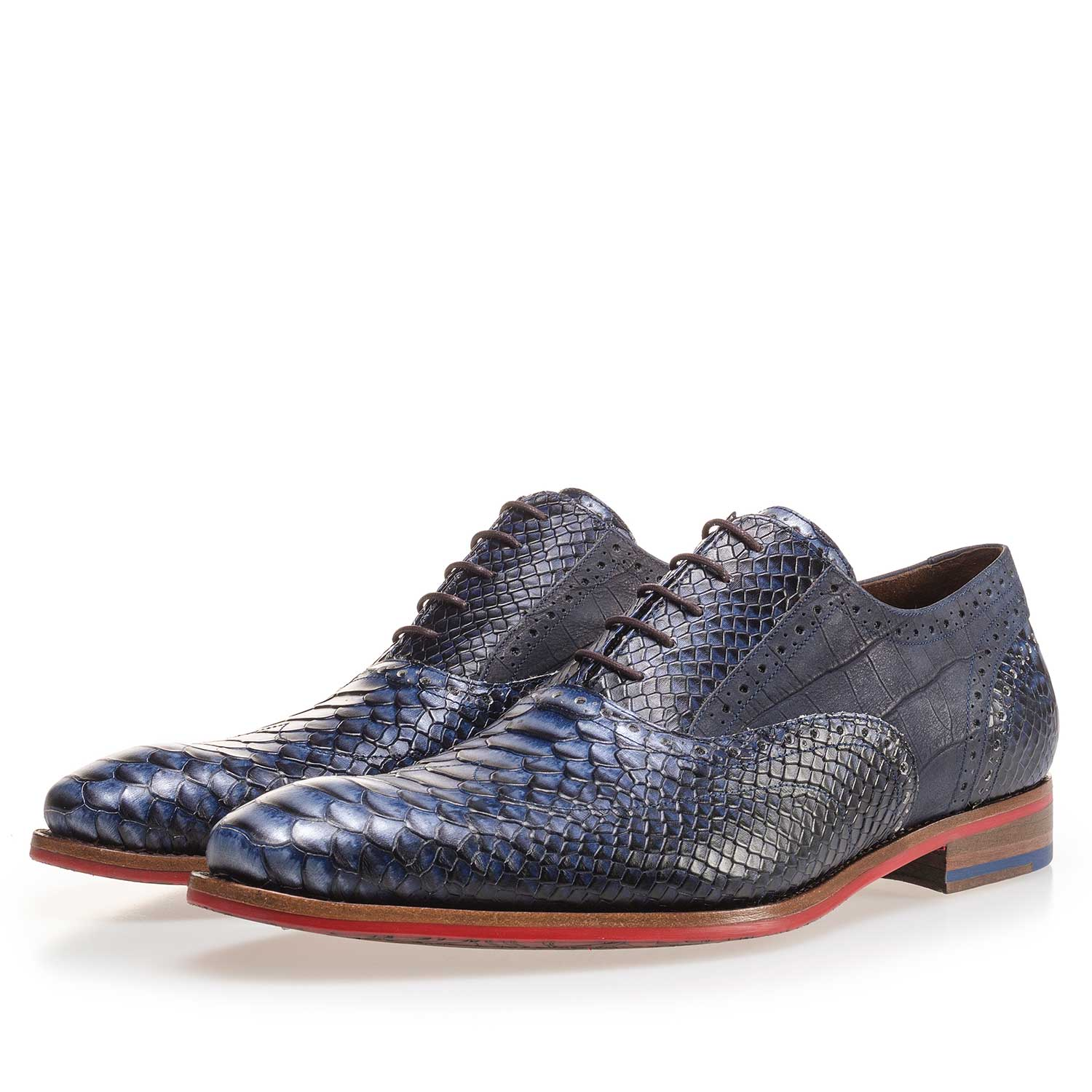 19104/07 - Dark blue leather lace shoe with a snake print