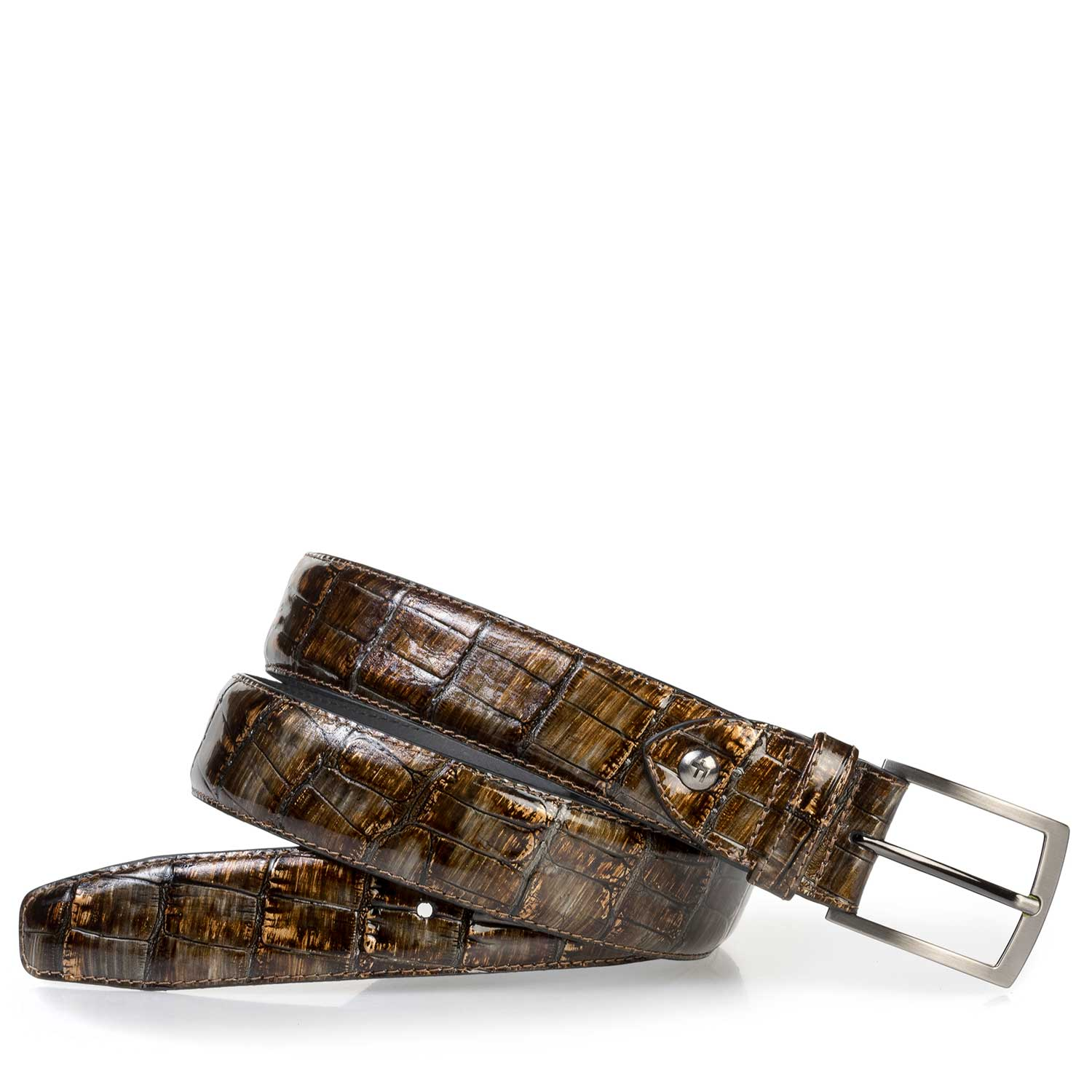 75200/06 - Cognac-colored patent leather belt with a croco print