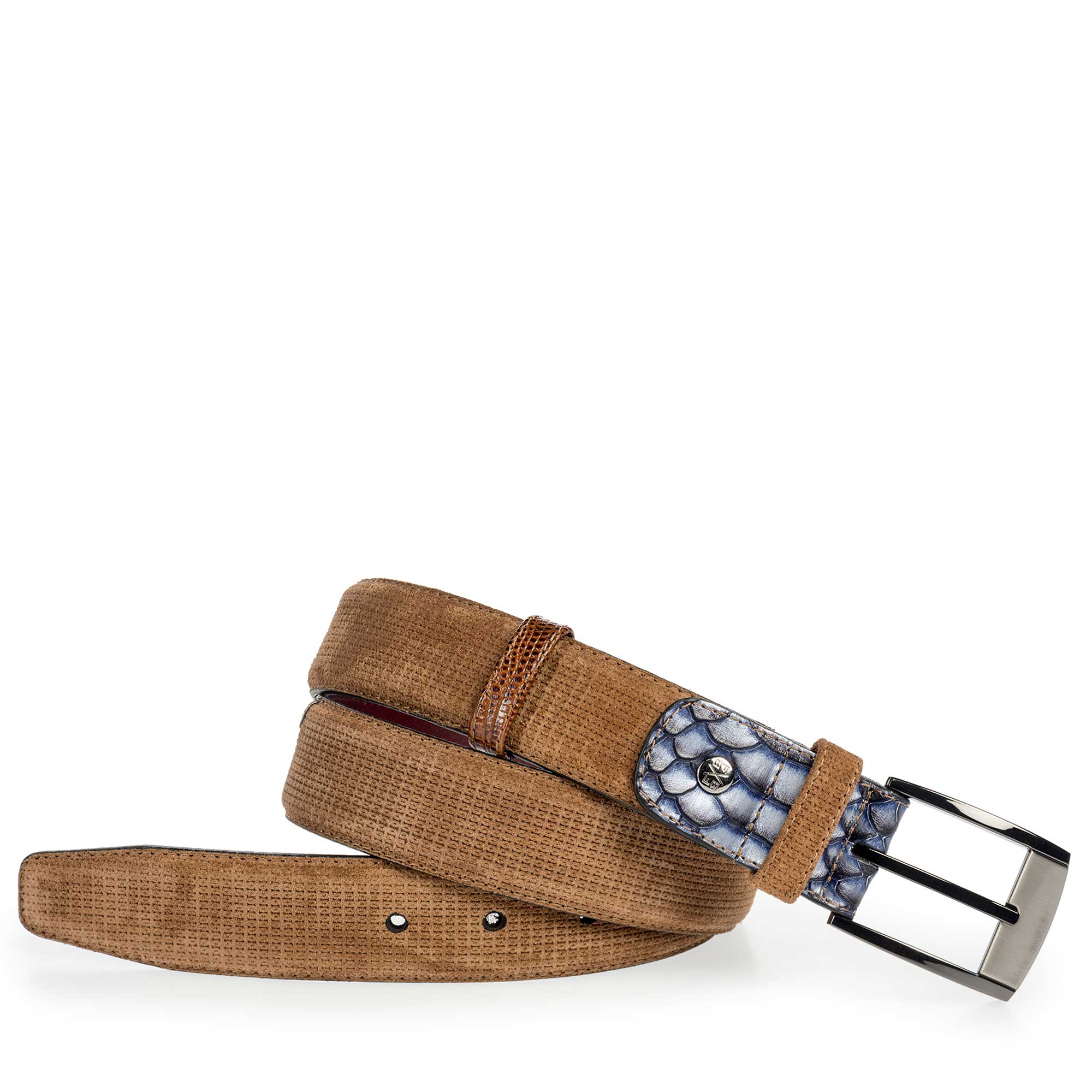 75176/15 - Light brown patterned belt made of suede leather