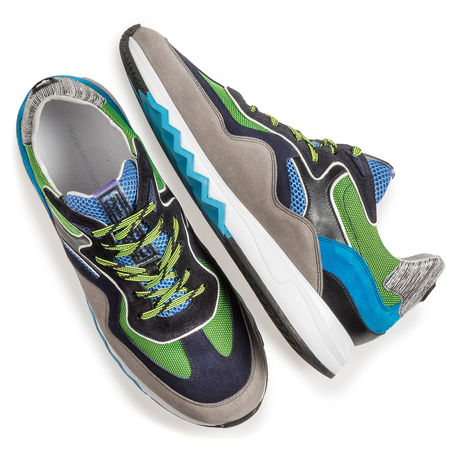 16290/00 - Multi-colour suede leather sneaker with green details