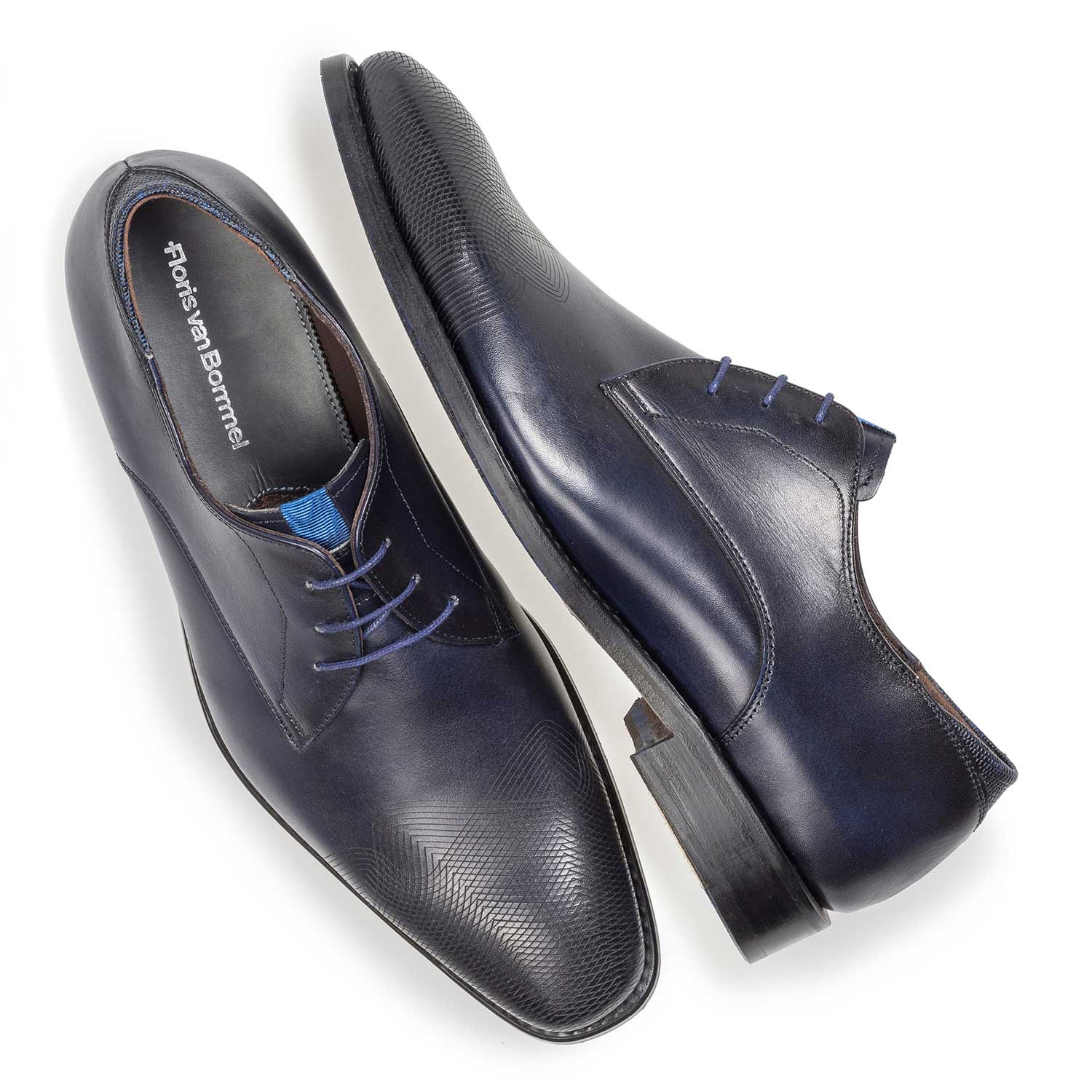 18184/02 - Dark blue calf leather lace shoe