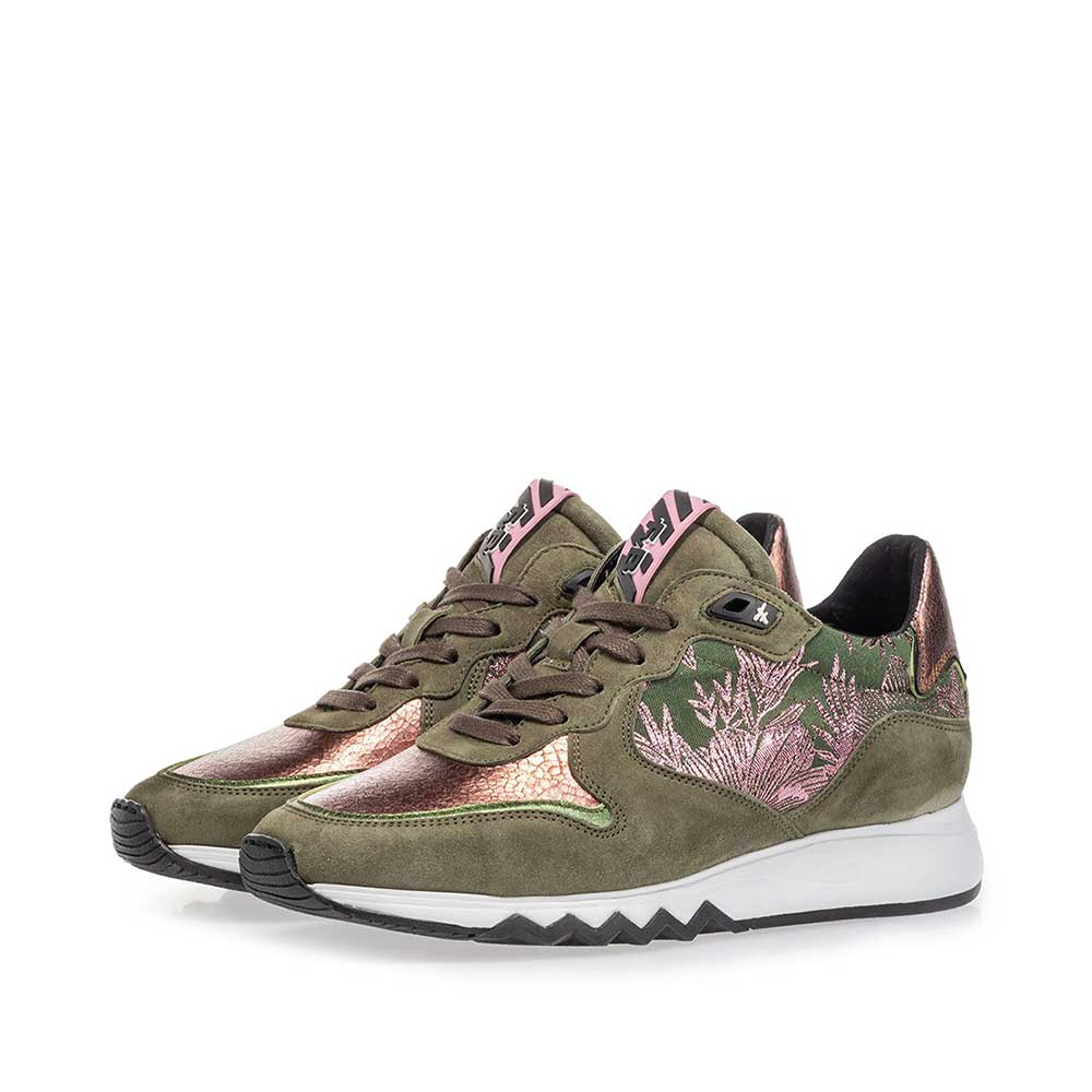 85302/10 - Sneaker olive green with print