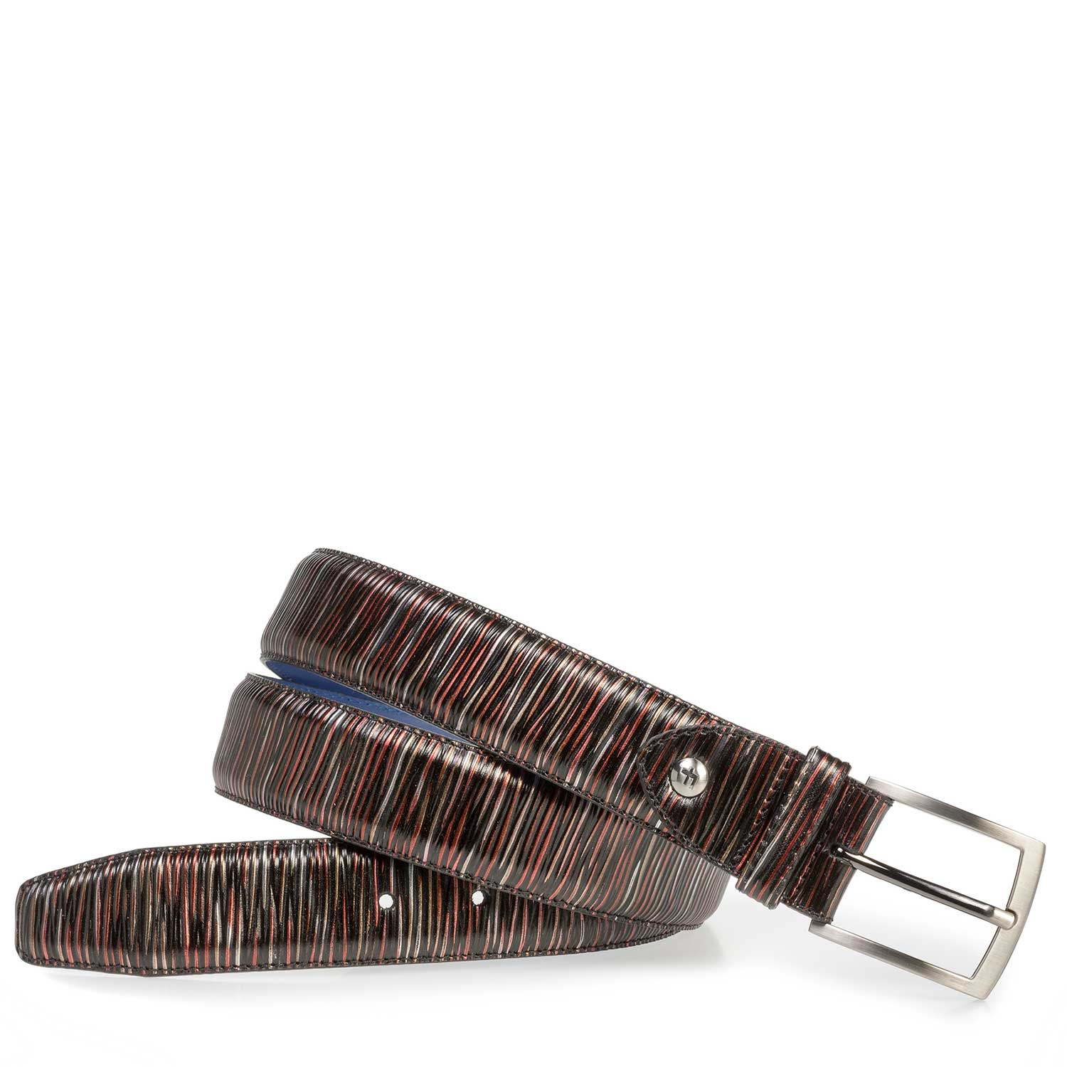 75201/38 - Dark red leather belt with metallic print